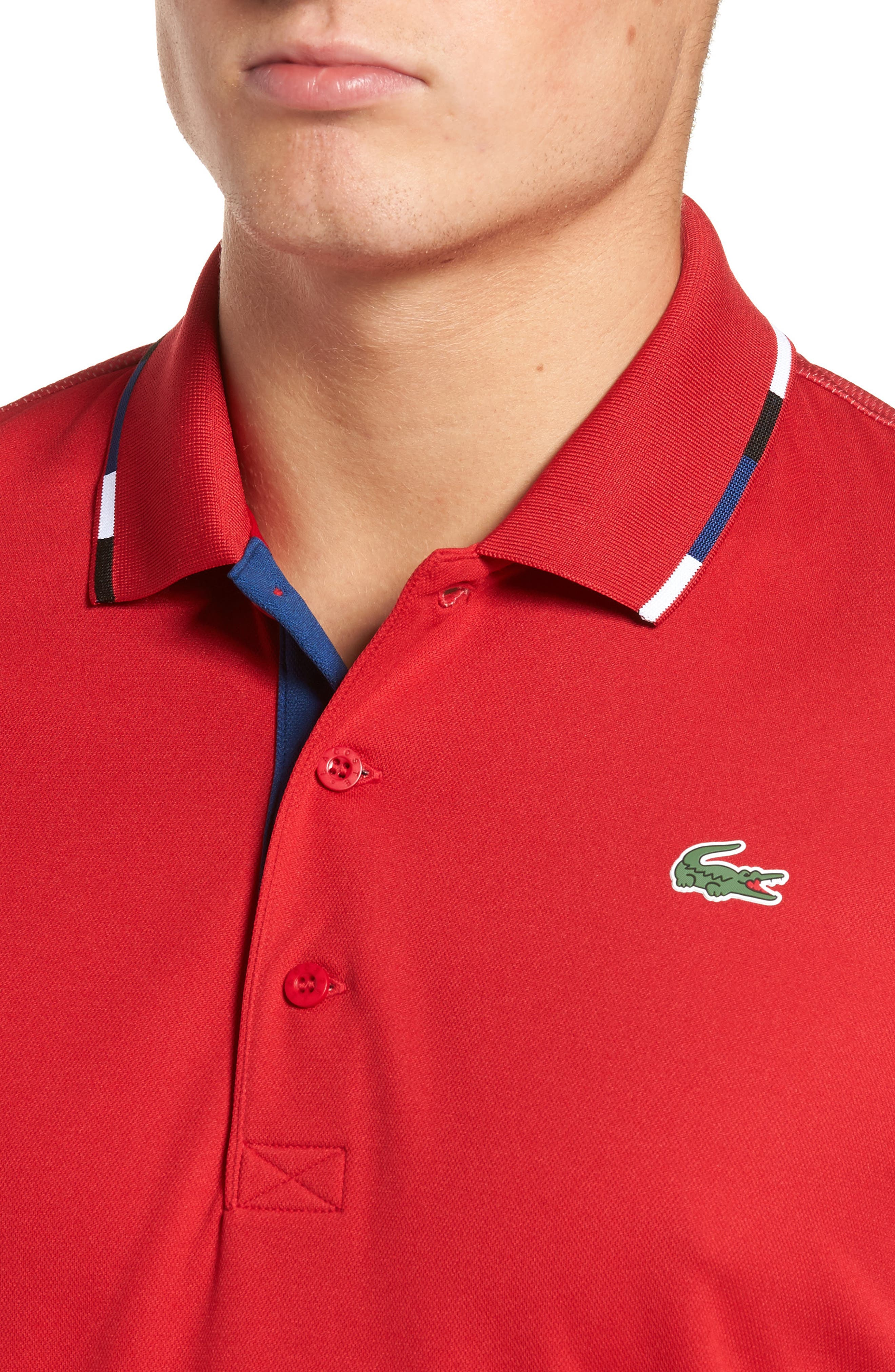 Sport Piped Piqué Tech Polo,                             Alternate thumbnail 4, color,                             Red/ Marino-Black-White