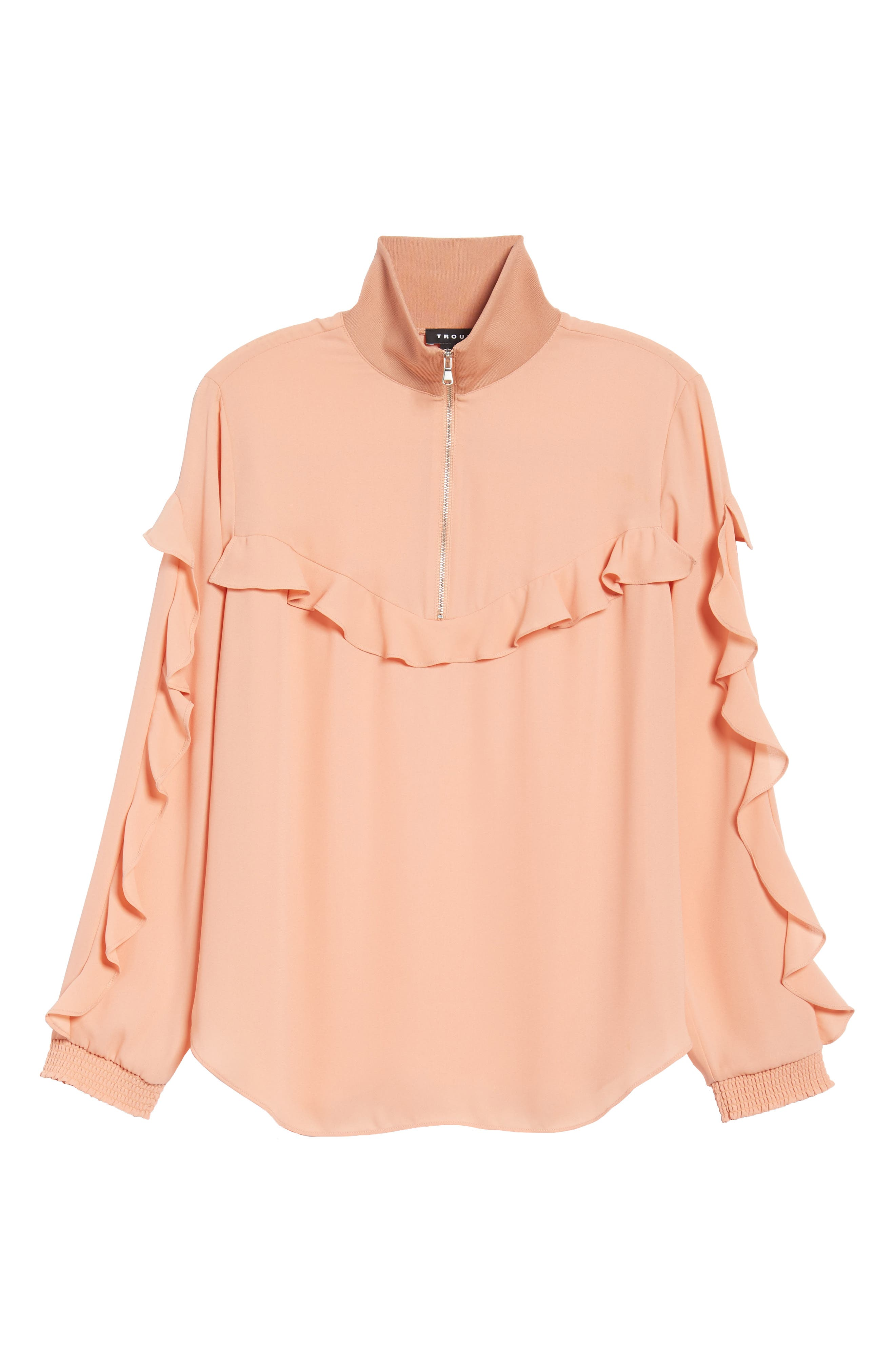 Ruffle Track Top,                             Alternate thumbnail 6, color,                             Coral Muted