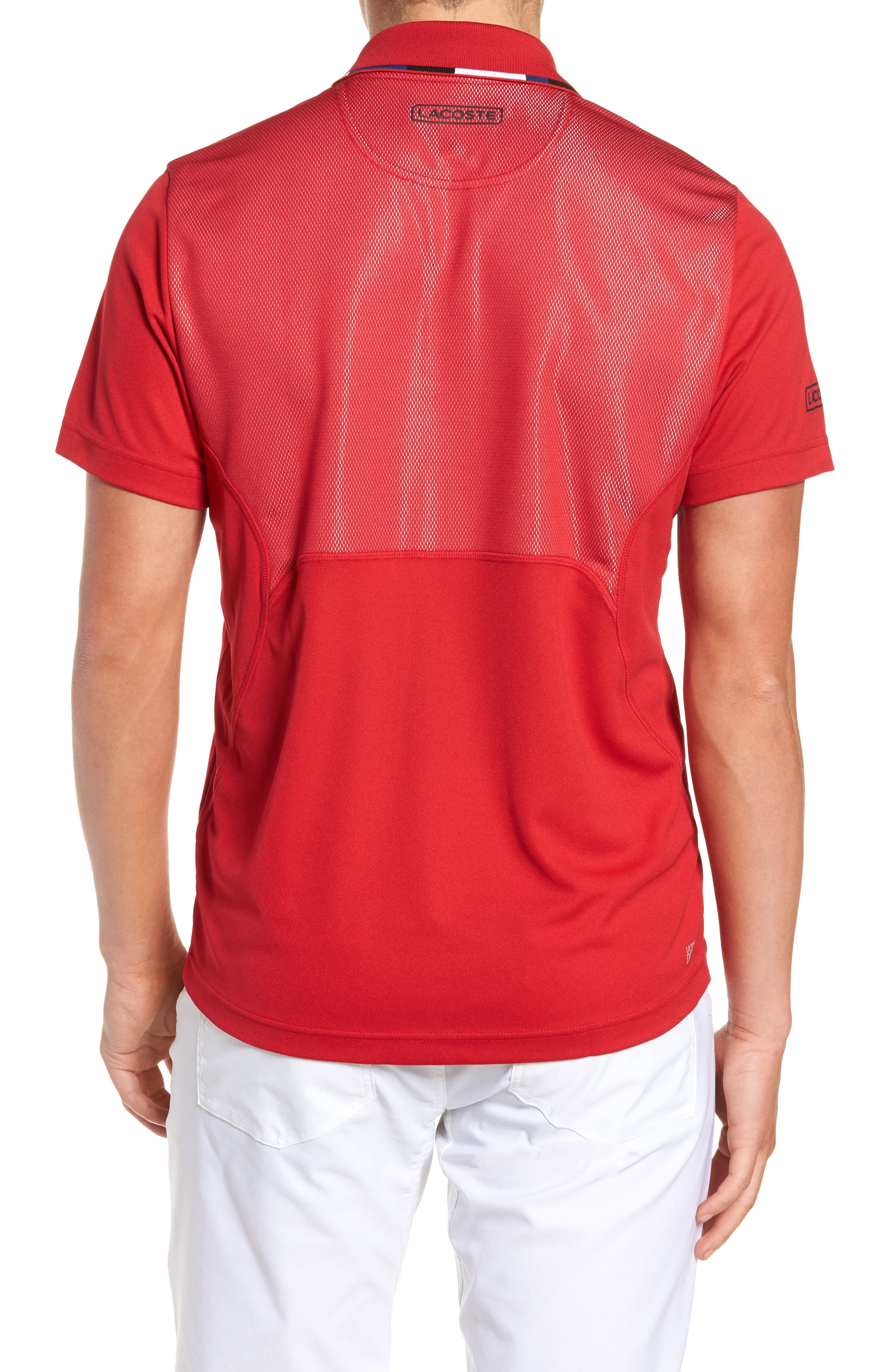 Sport Piped Piqué Tech Polo,                             Alternate thumbnail 2, color,                             Red/ Marino-Black-White