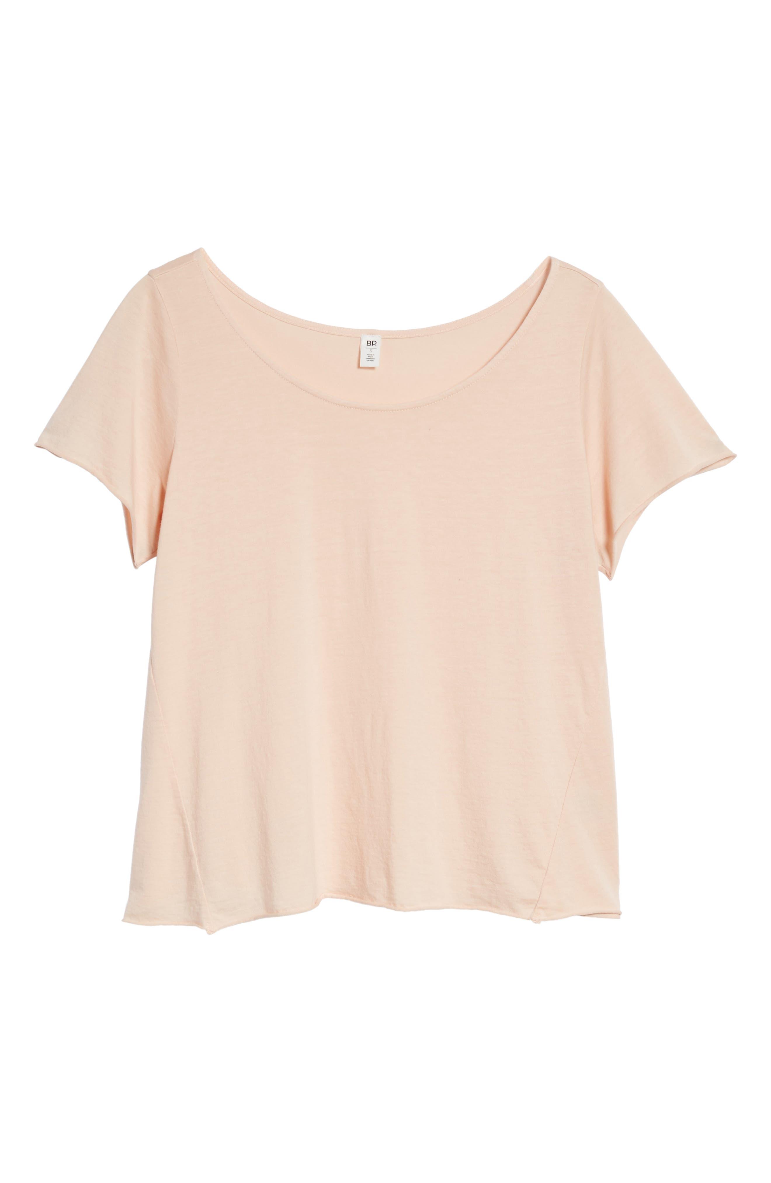 Cotton & Modal Rolled Hem Tee,                             Alternate thumbnail 6, color,                             Pink Hero