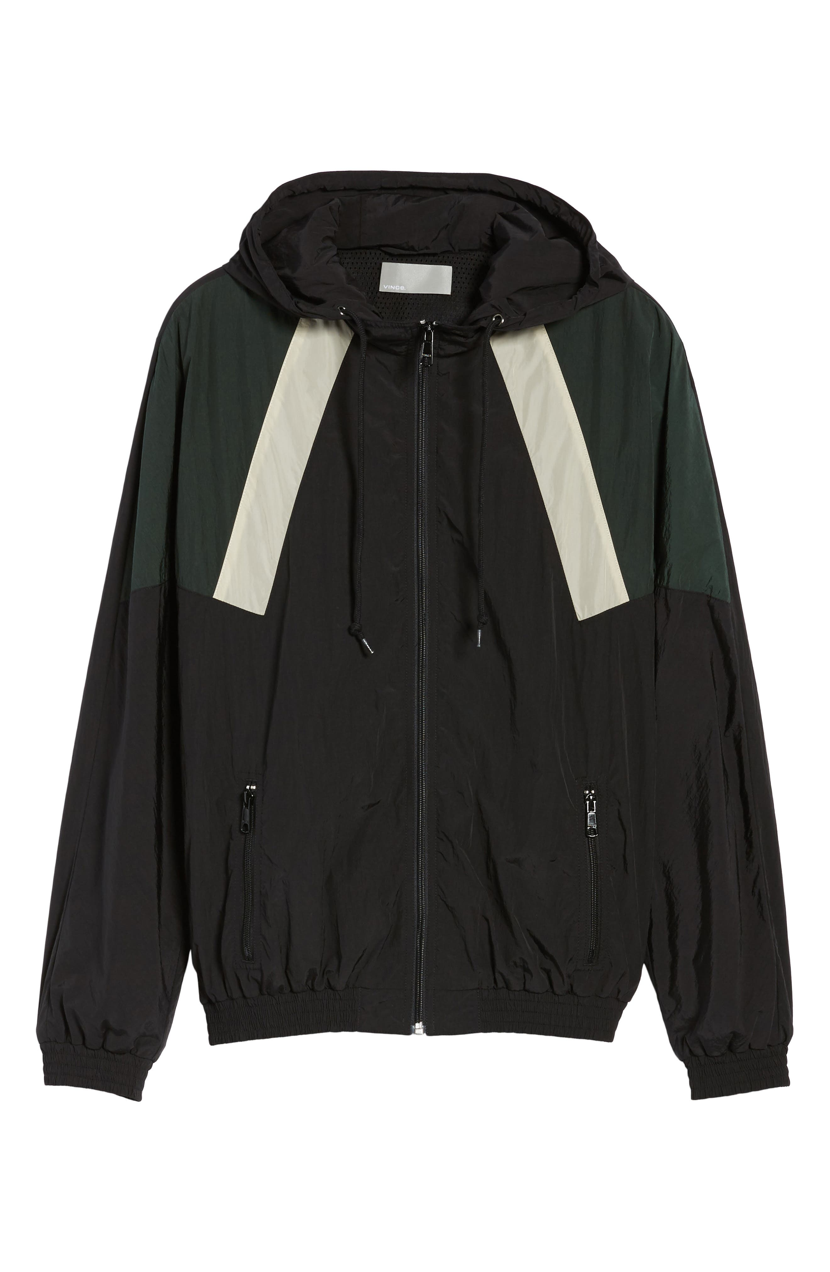 Hooded Shell Jacket,                             Alternate thumbnail 6, color,                             Black/ Deep Forest