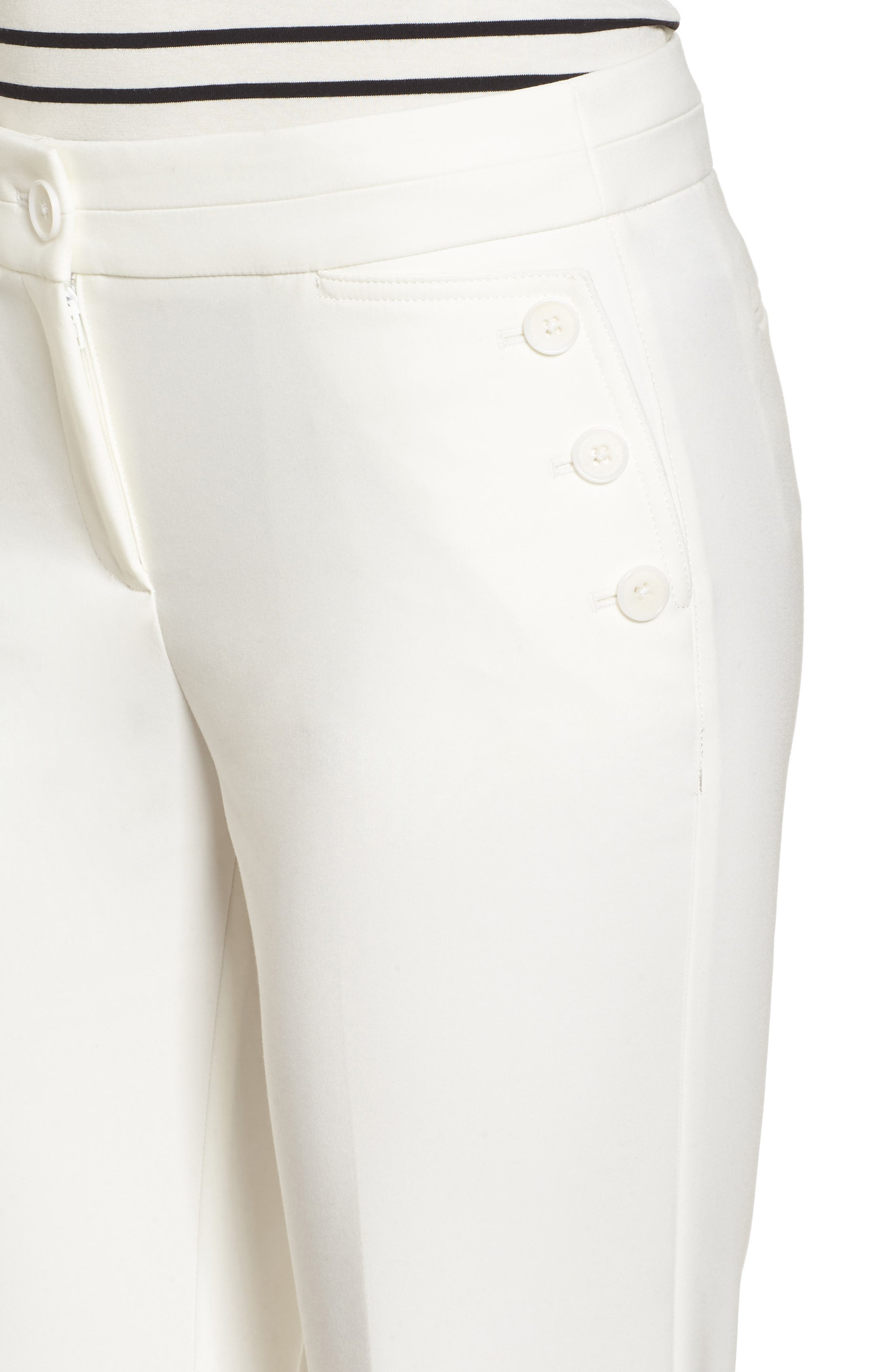 Flare Leg Sailor Pants,                             Alternate thumbnail 4, color,                             White
