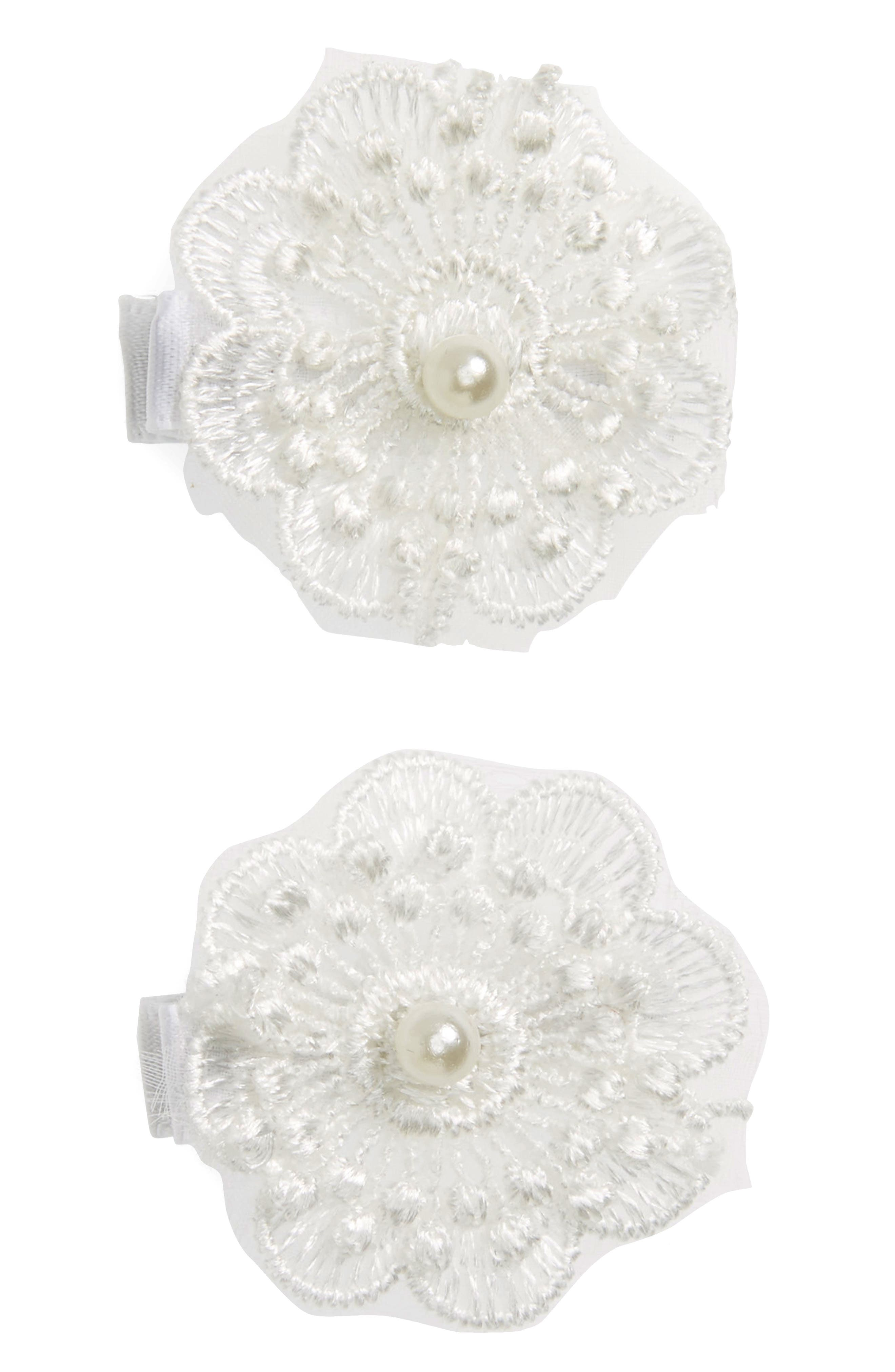 2-Pack Lace Flower Clips,                             Main thumbnail 1, color,                             White