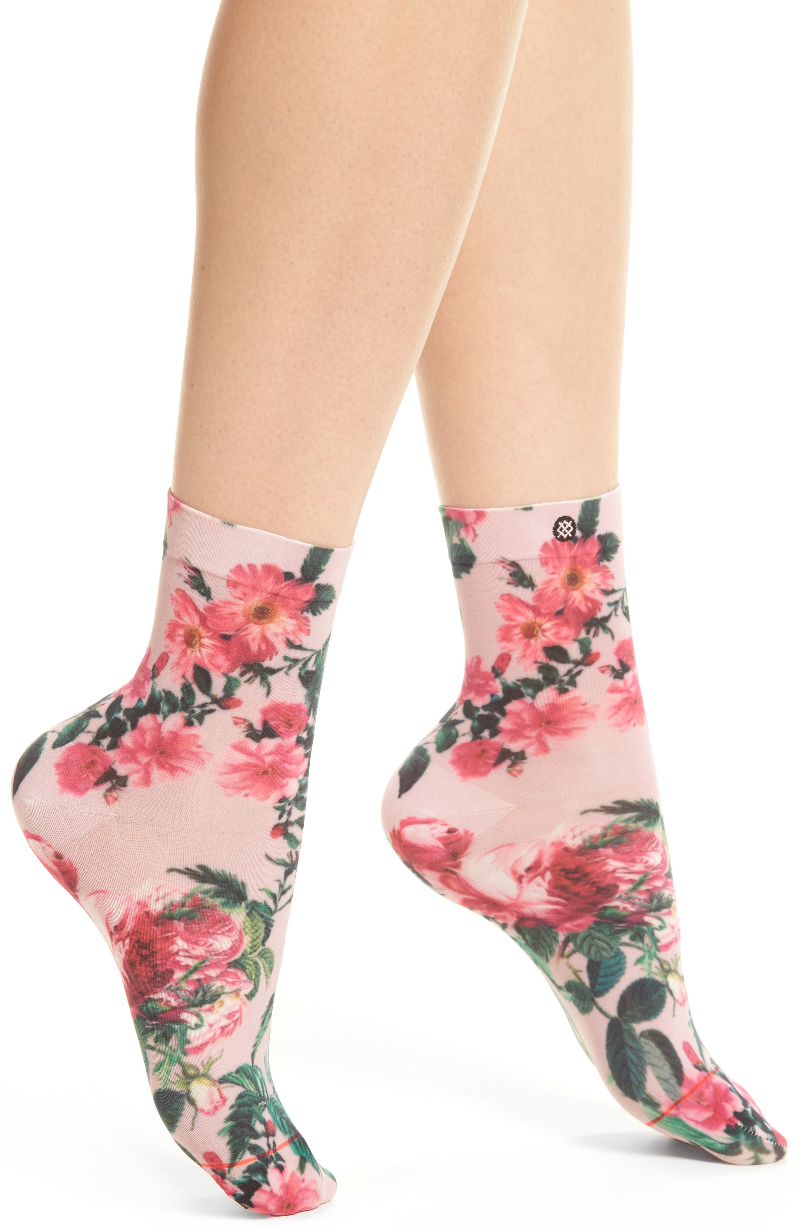 May Flowers Ankle Socks,                         Main,                         color, Pink