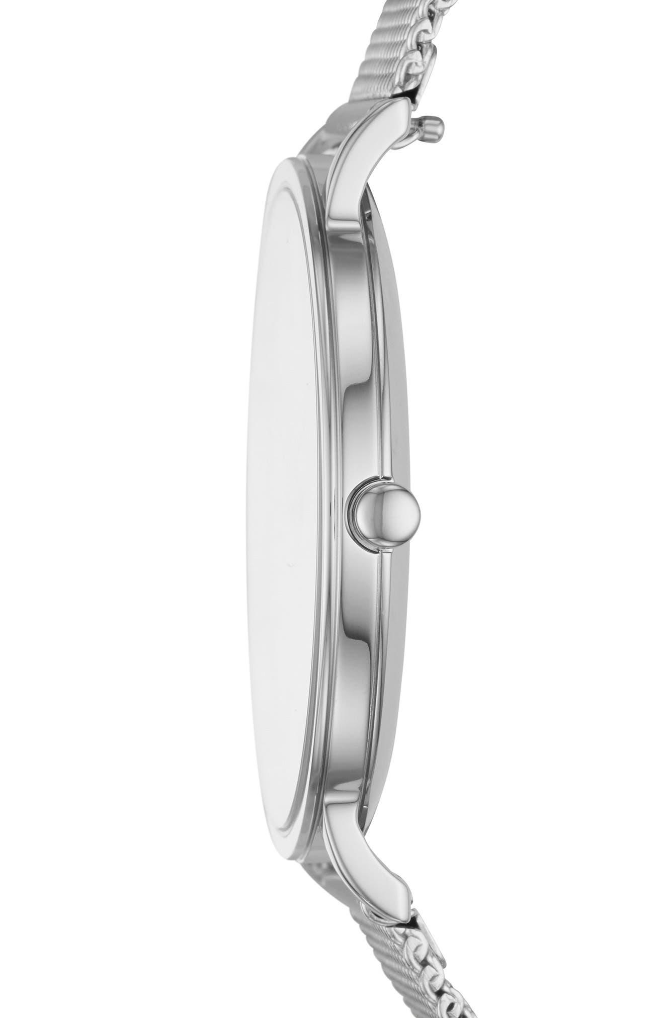 Hagen Slim Mesh Strap Watch, 38mm,                             Alternate thumbnail 2, color,                             Silver