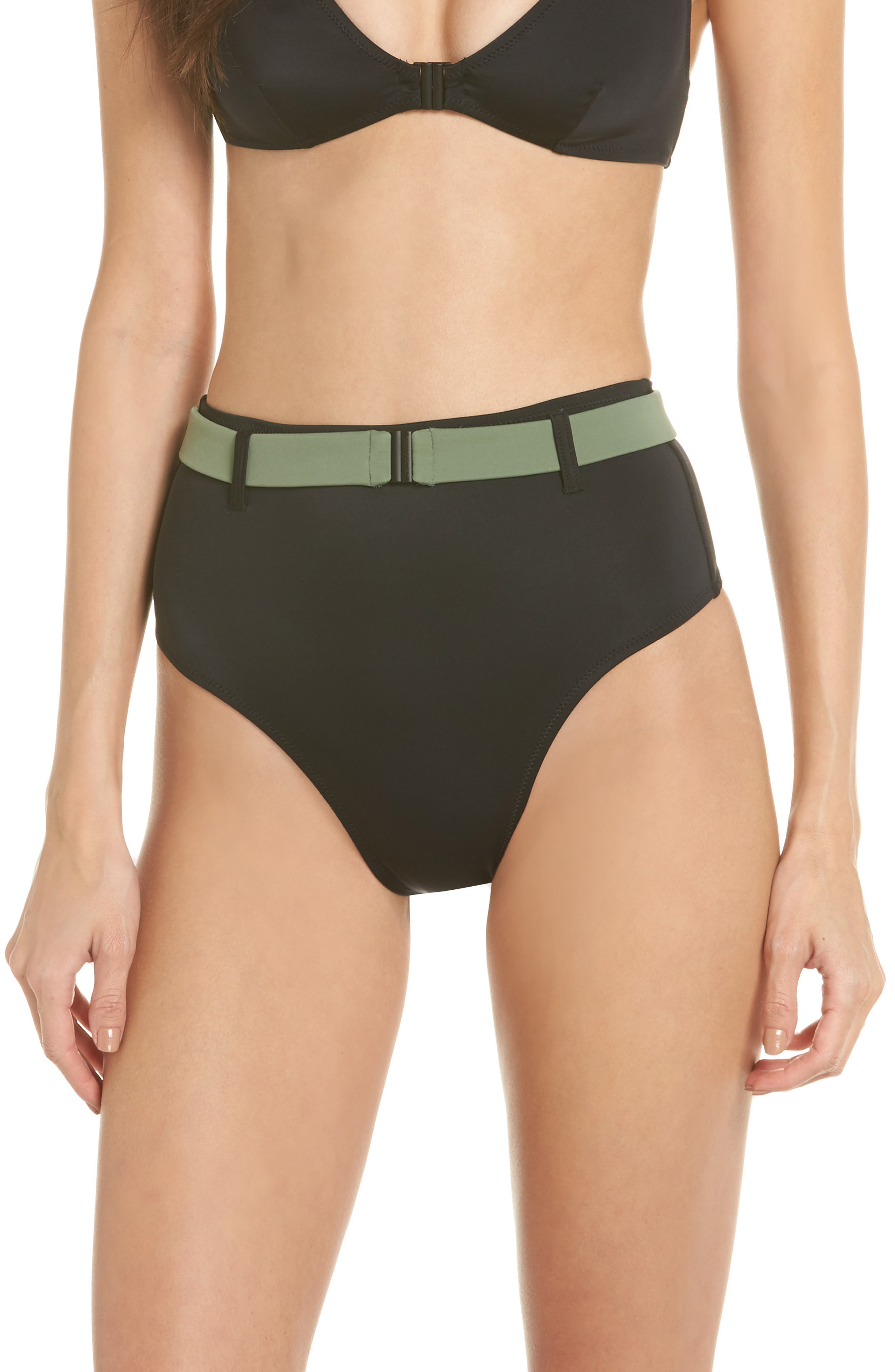 The Josephine High Waist Bikini Bottoms,                         Main,                         color, Black