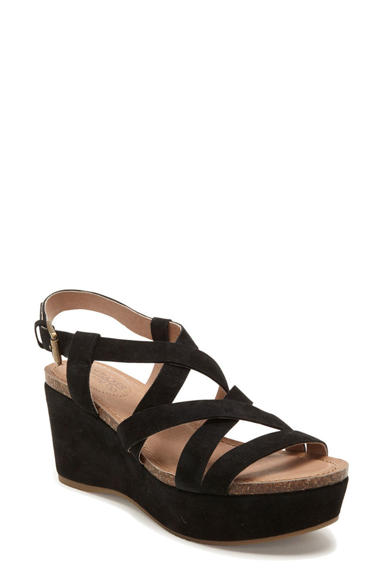 Adam Tucker Bria Strappy Sandal,                             Main thumbnail 1, color,                             Black Suede