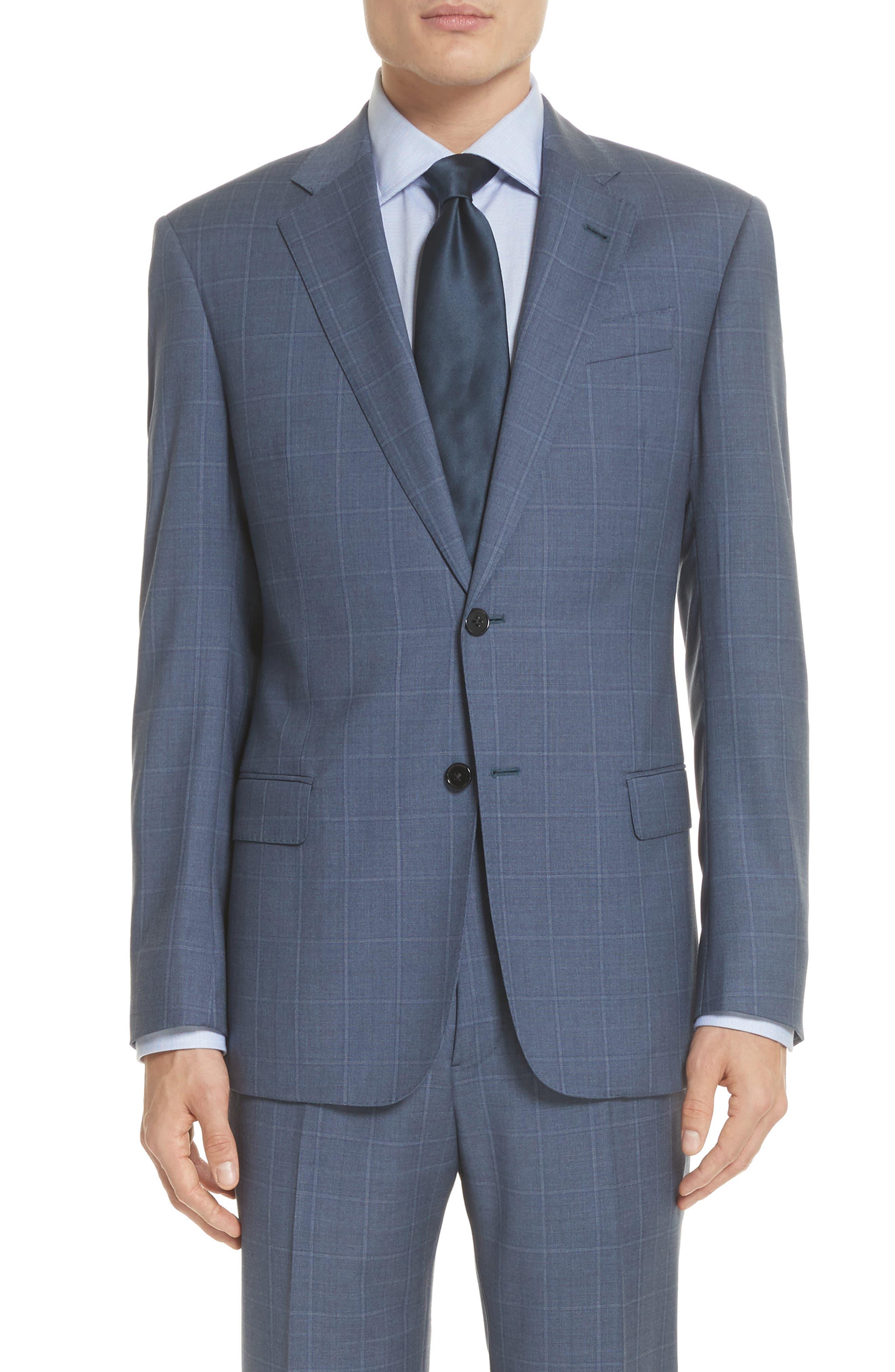 G Line Trim Fit Windowpane Wool Suit,                             Alternate thumbnail 5, color,                             Blue