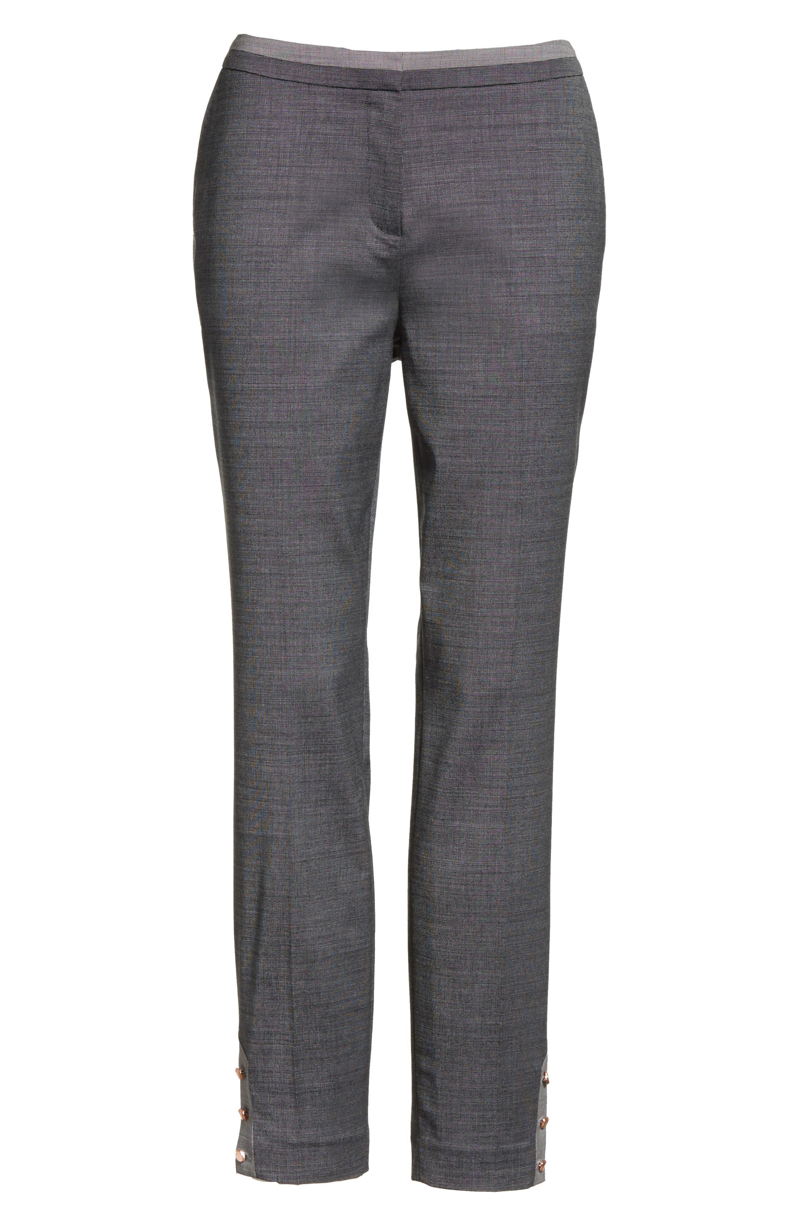 Contrast Trim Slim Leg Trousers,                             Alternate thumbnail 6, color,                             Grey