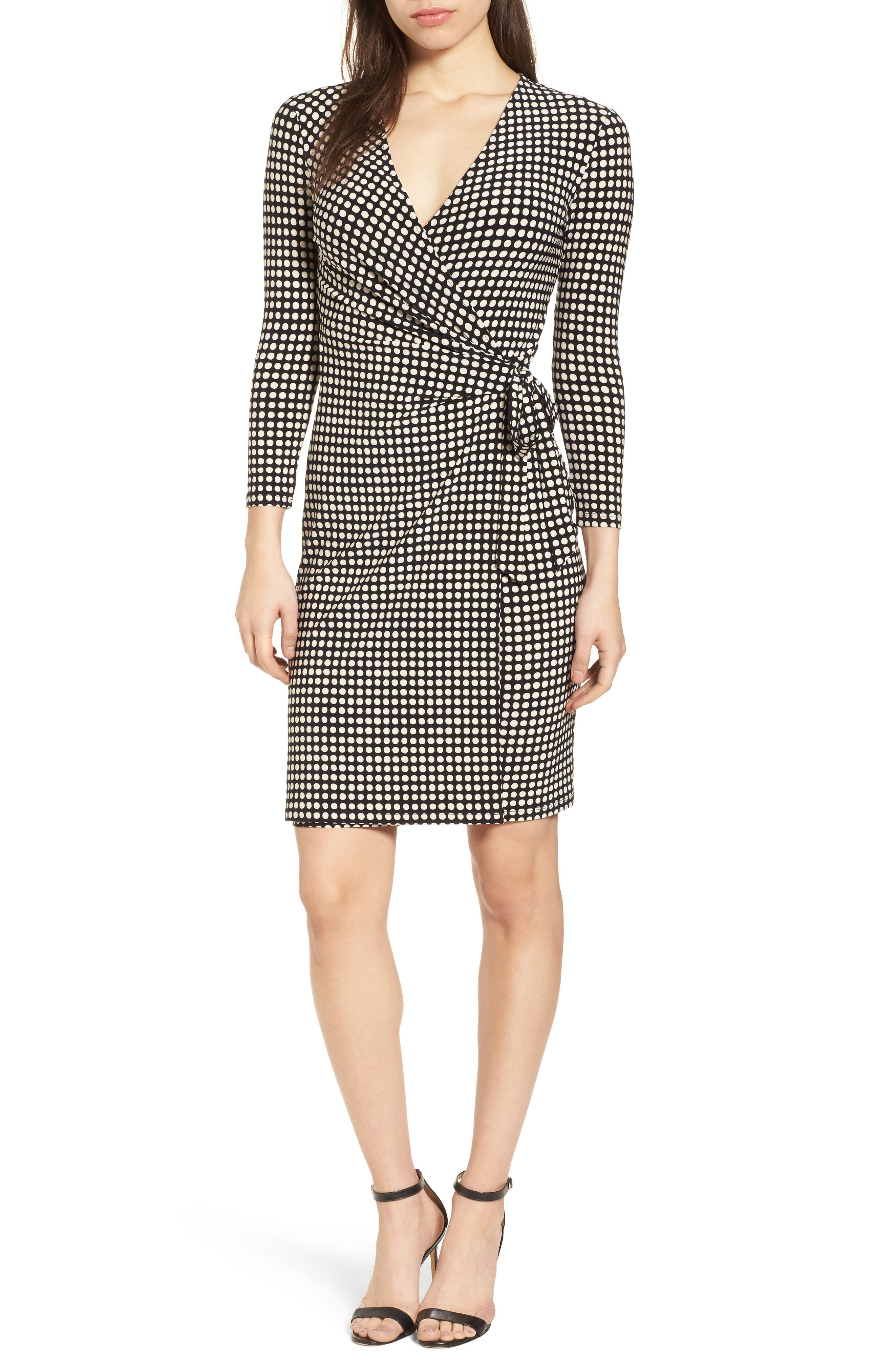 New York Pearly Dot Classic Wrap Dress,                             Main thumbnail 1, color,                             Black/ Parchment