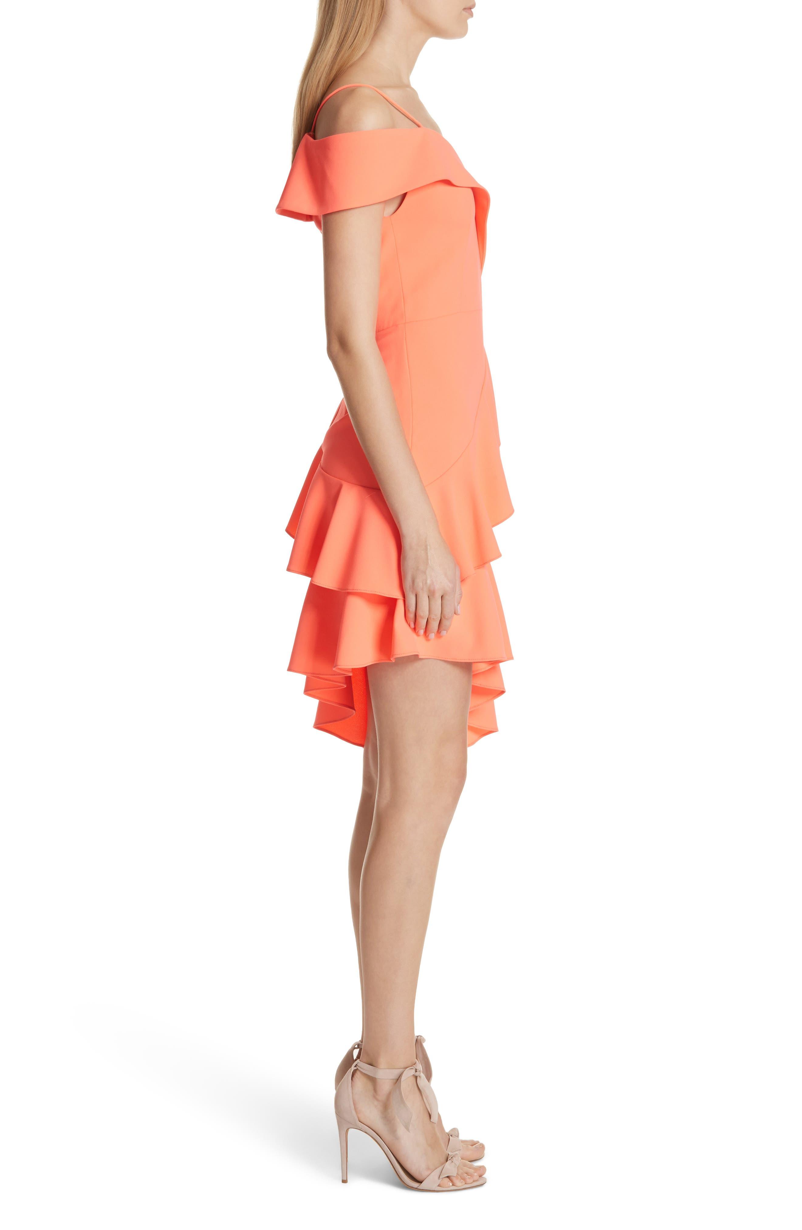 Vita Cold Shoulder Dress,                             Alternate thumbnail 3, color,                             Neon Coral