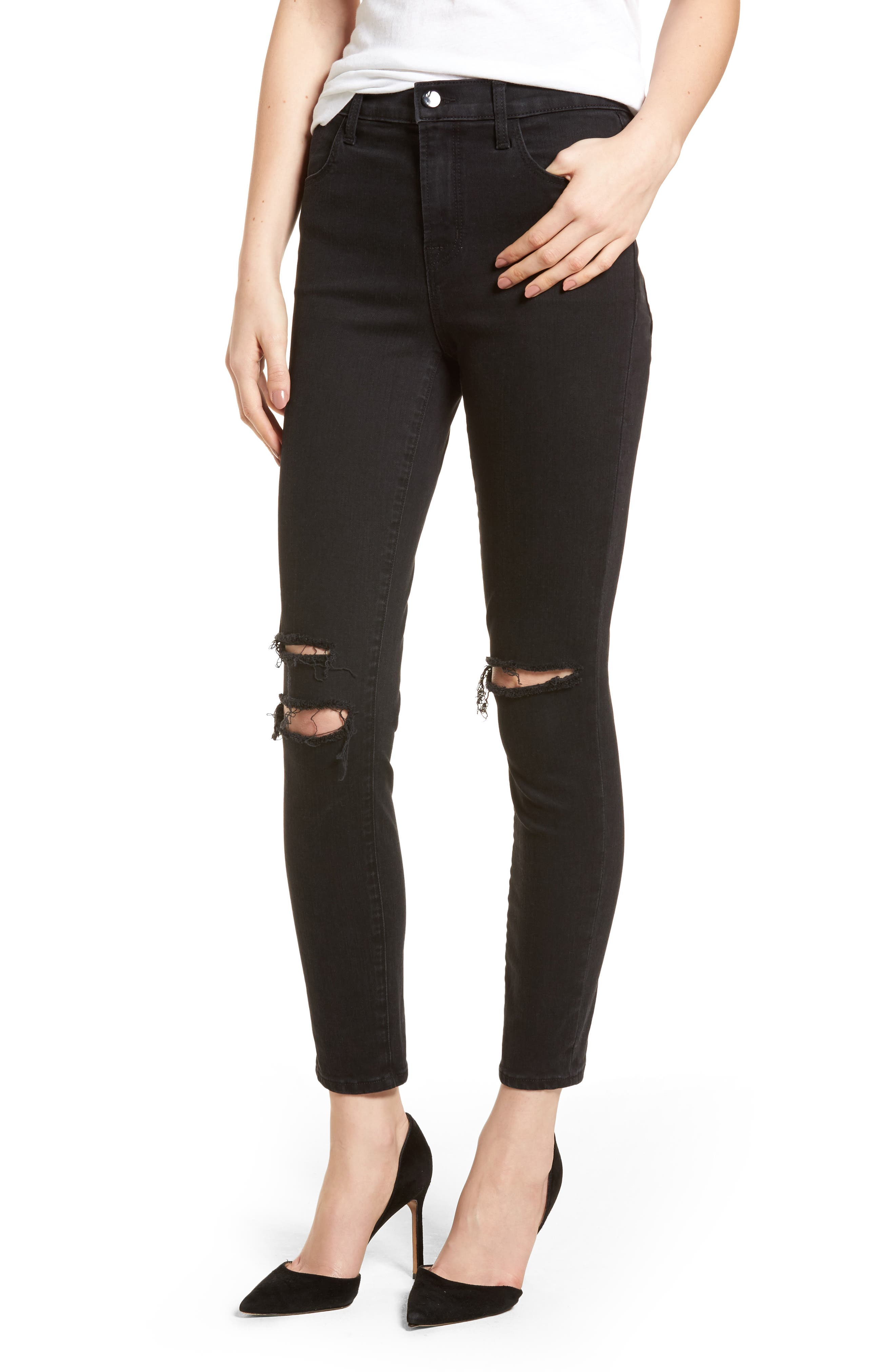 Alternate Image 1 Selected - J Brand Alana High Waist Ankle Skinny Jeans (Black Mercy) (Nordstrom Exclusive)