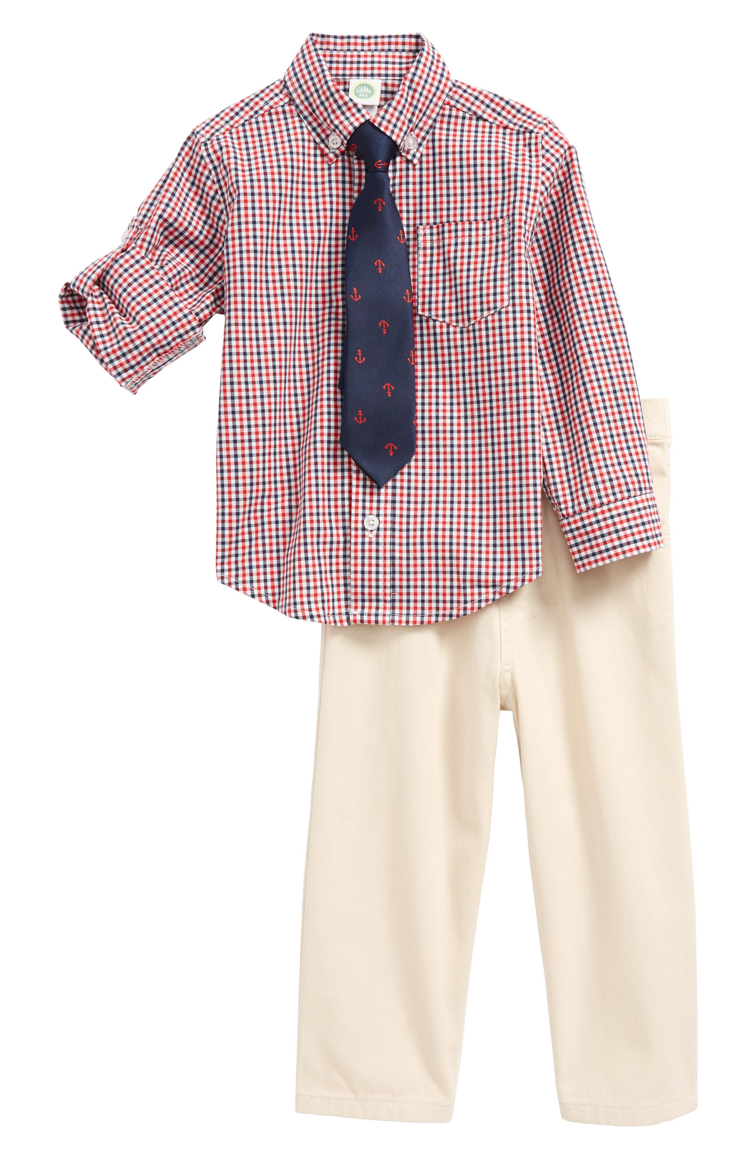 Check Shirt, Pants & Tie Set,                             Main thumbnail 1, color,                             Tan