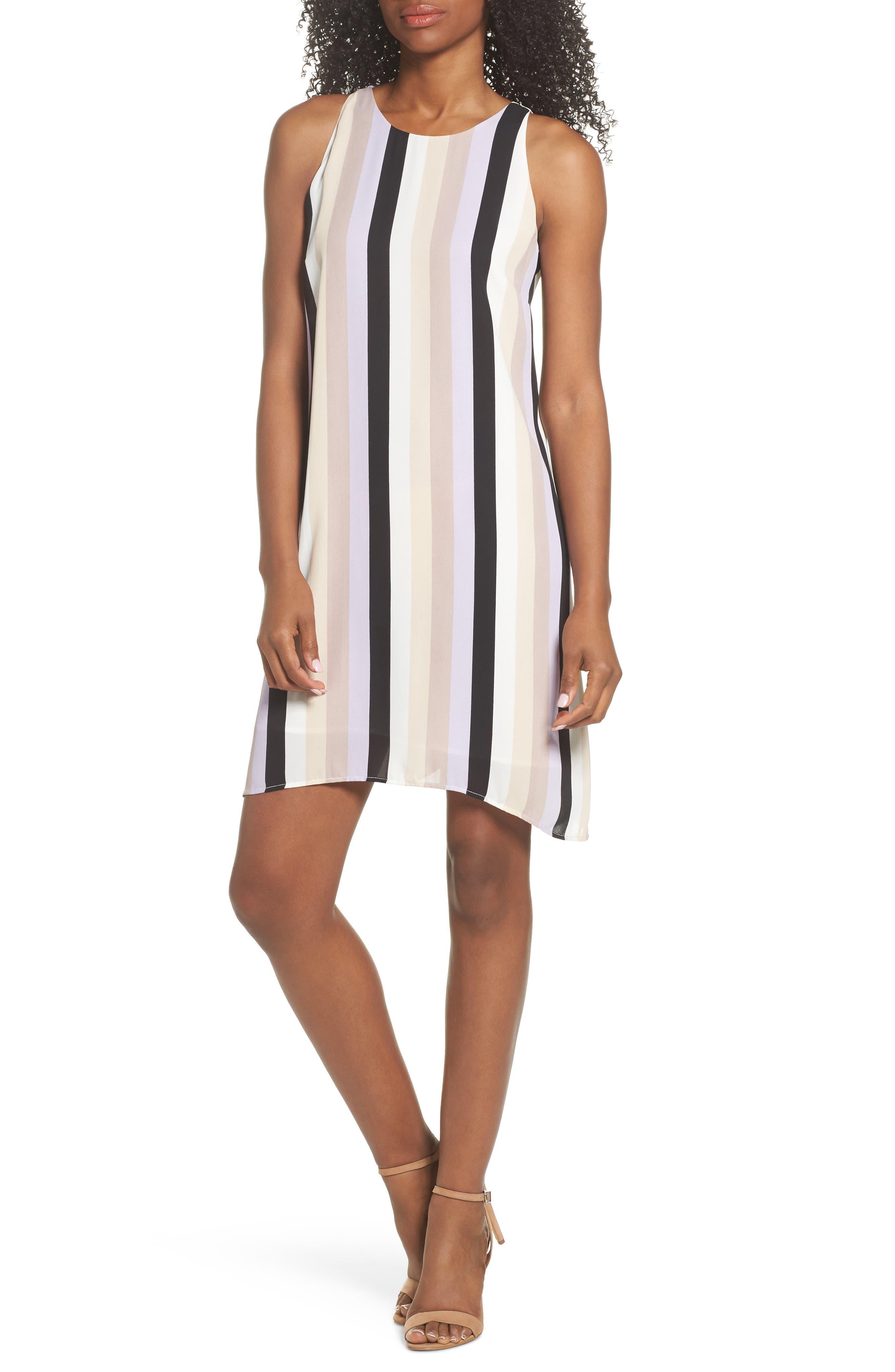 Stripe A-Line Dress,                         Main,                         color, Orchid Combo