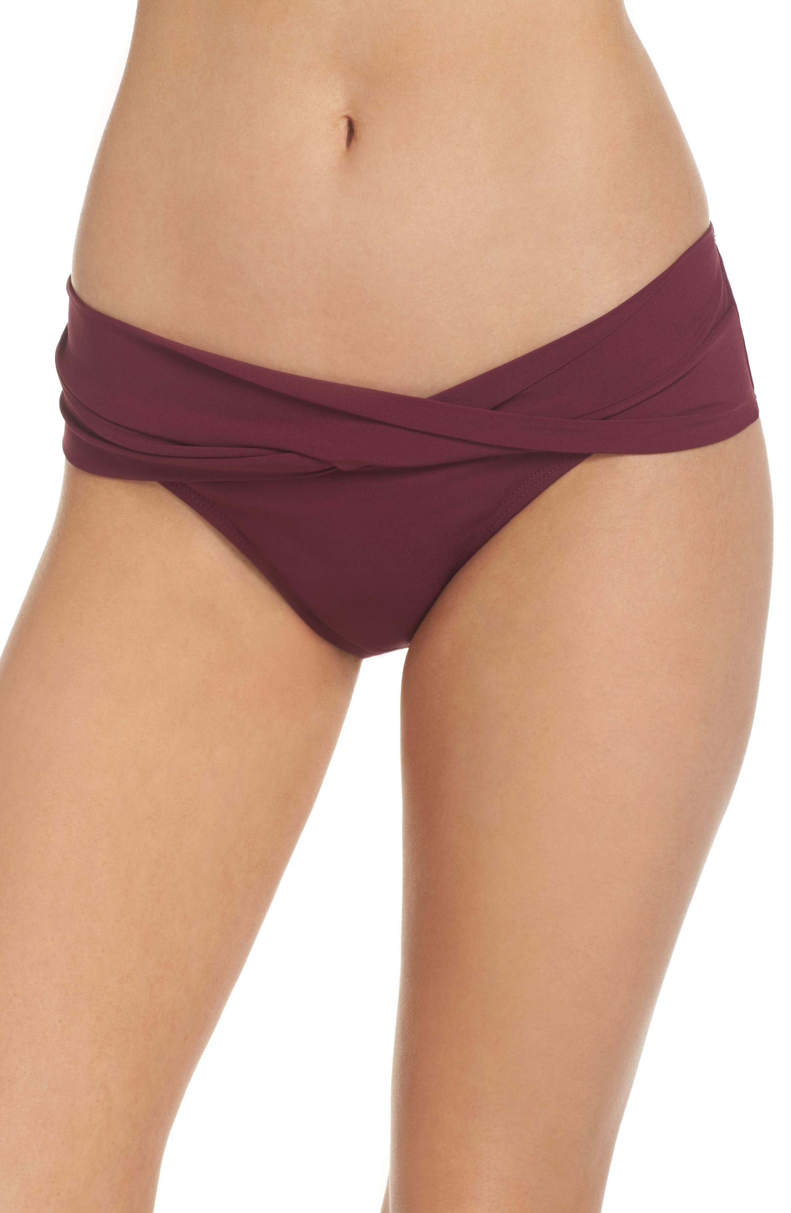 Ava Twist Hipster Bikini Bottoms,                         Main,                         color, Rubine