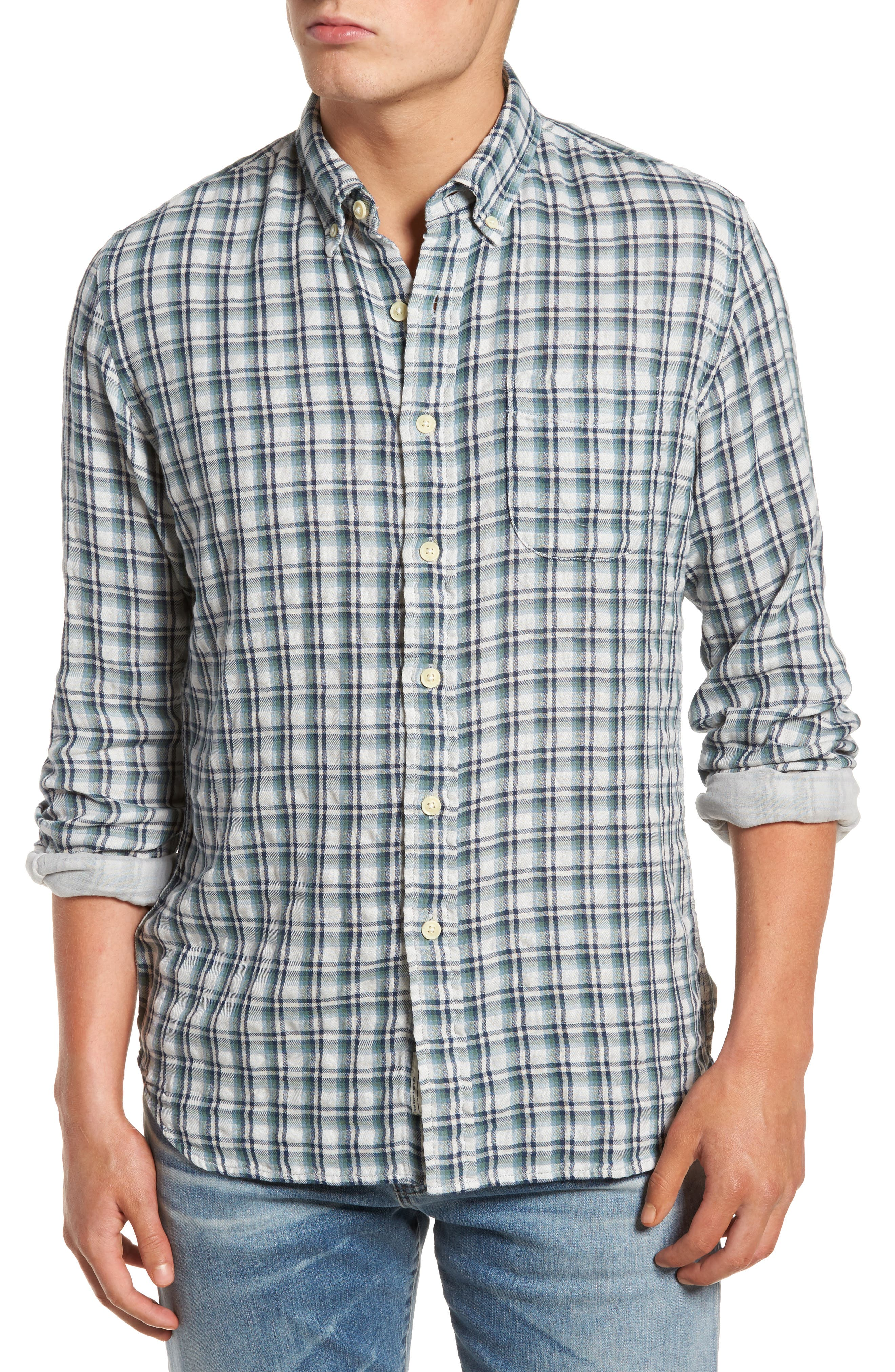 Boulder Double Cloth Plaid Sport Shirt,                             Main thumbnail 1, color,                             Cream Green Navy