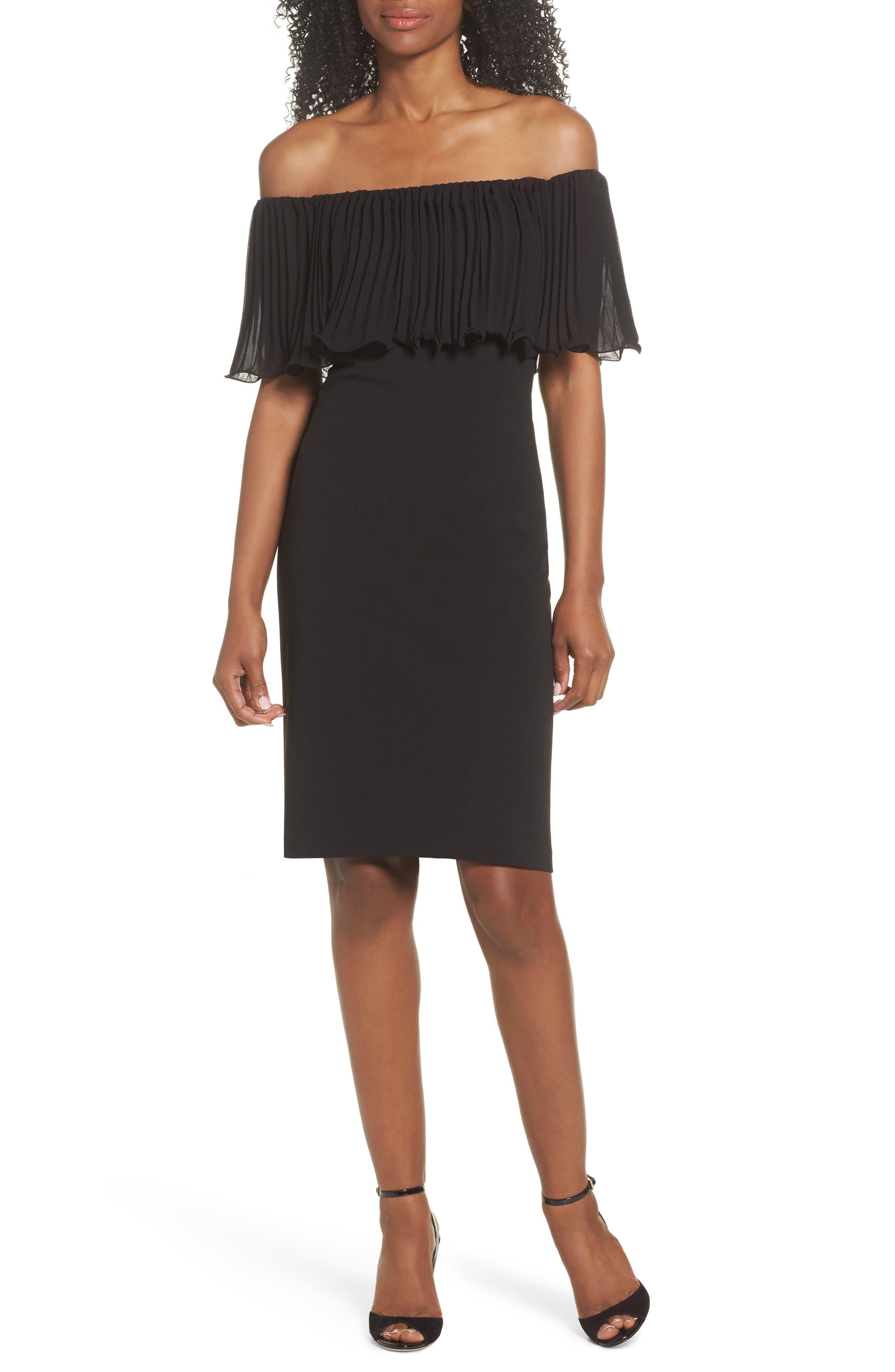 Pleat Ruffle Off the Shoulder Dress,                             Main thumbnail 1, color,                             Black