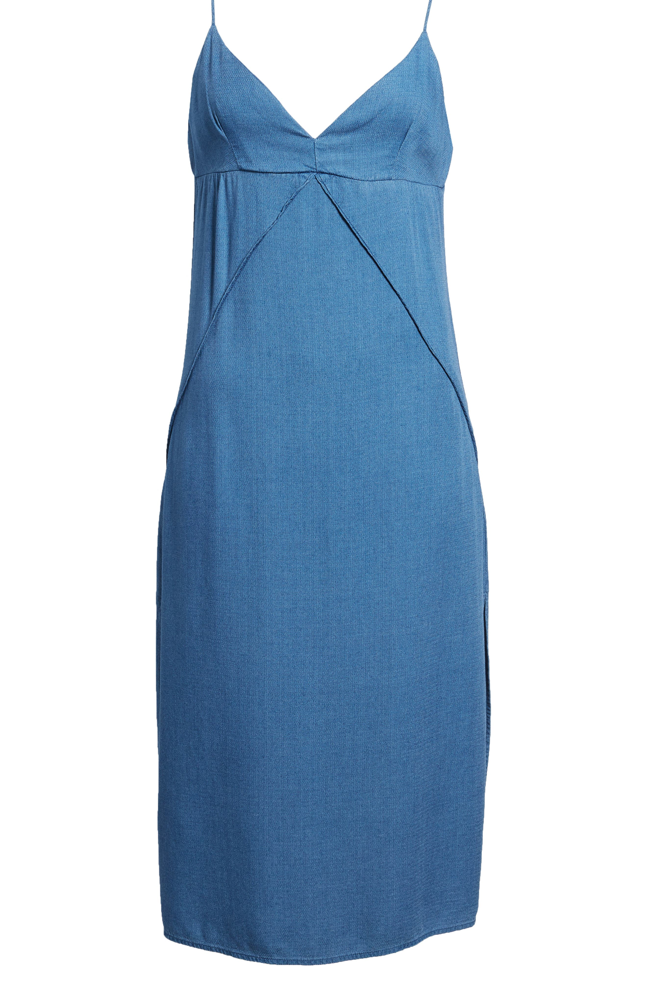 Chambray Camisole Dress,                             Alternate thumbnail 6, color,                             Med Wash