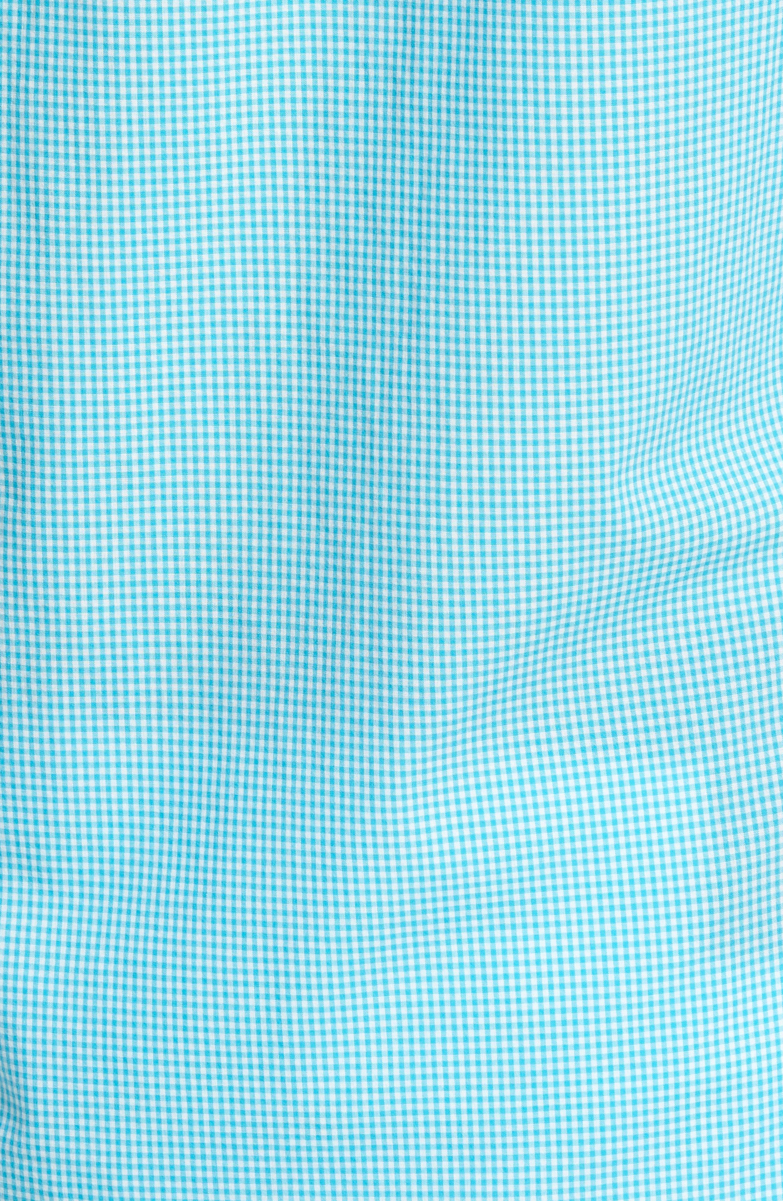 Slim Fit Summerweight Check Sport Shirt,                             Alternate thumbnail 5, color,                             Bondi Gingham - Scuba Blue