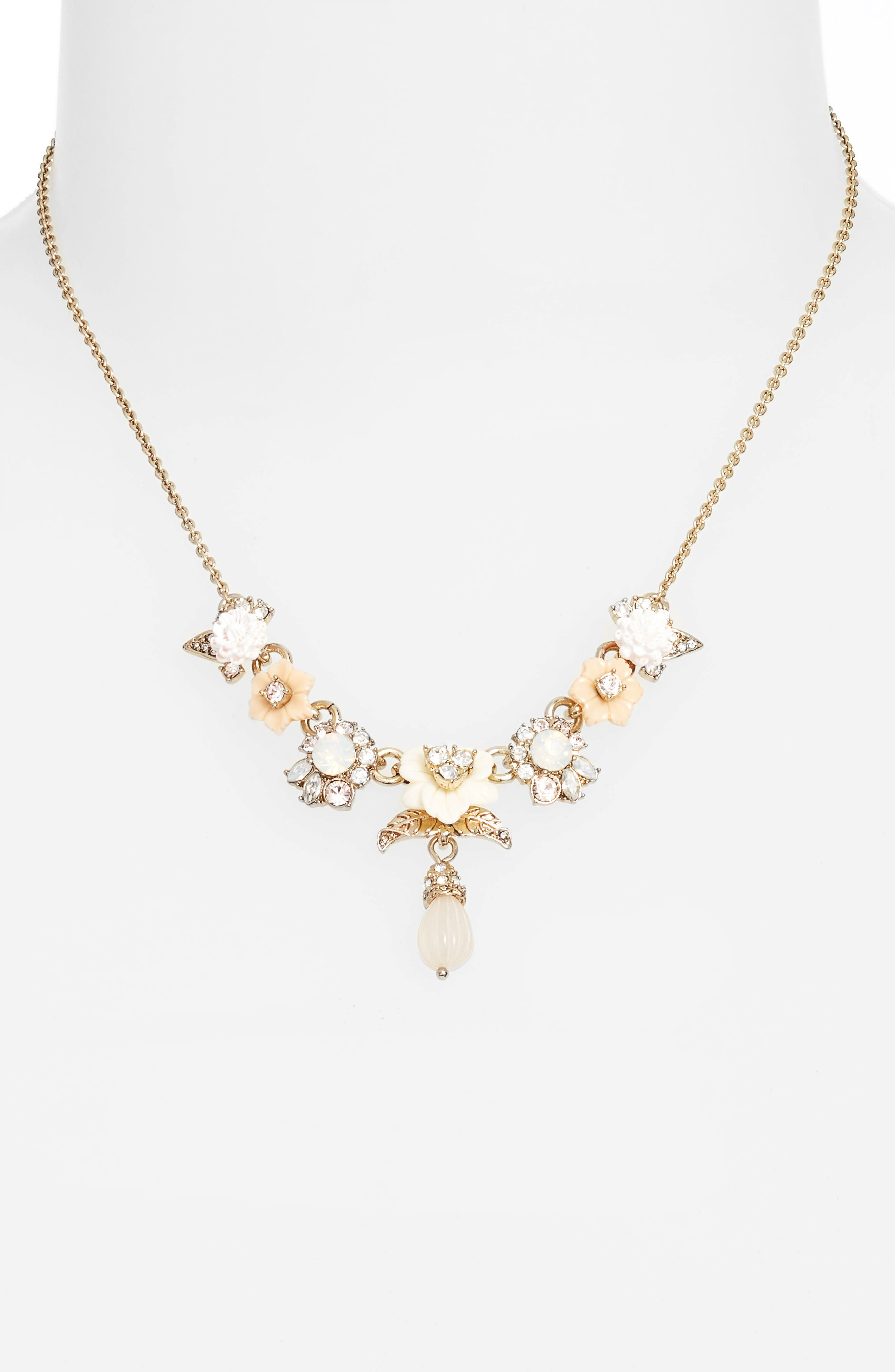 Floral Drop Necklace,                             Alternate thumbnail 2, color,                             Gold/ White Multi
