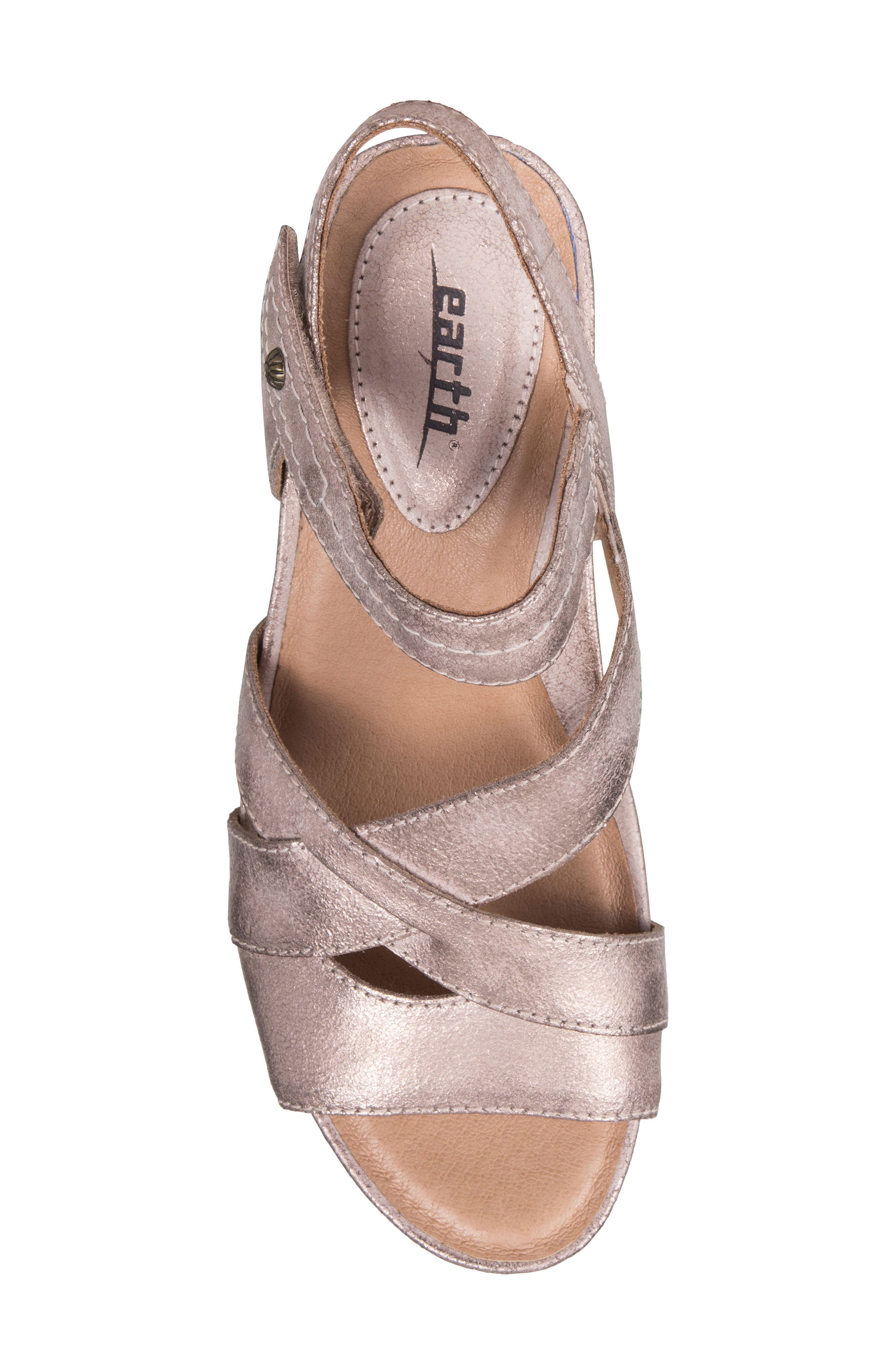 Thistle Wedge Sandal,                             Alternate thumbnail 5, color,                             Pink Leather