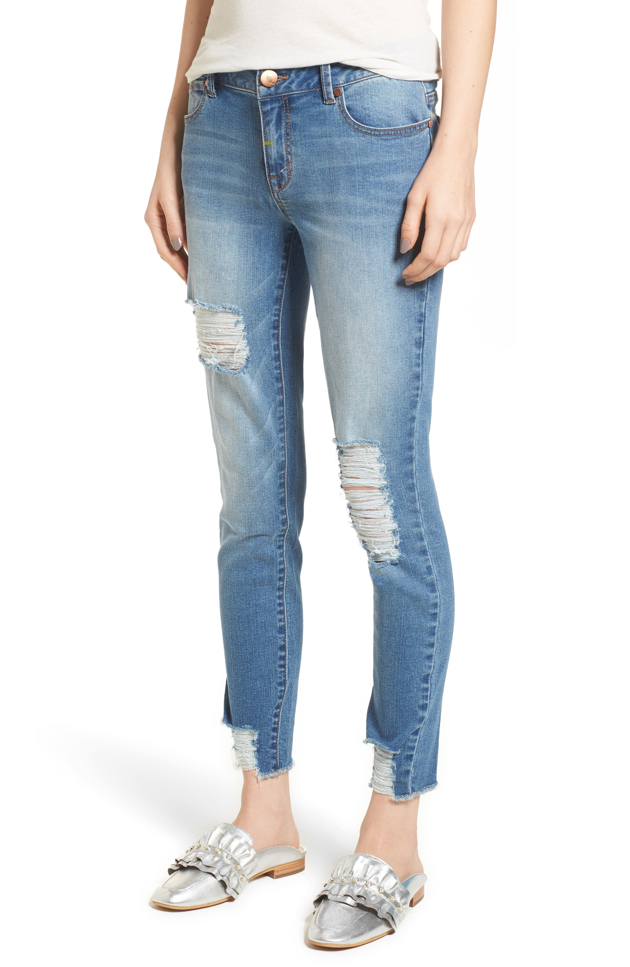 Decon Ripped Skinny Jeans,                             Main thumbnail 1, color,                             Weezer