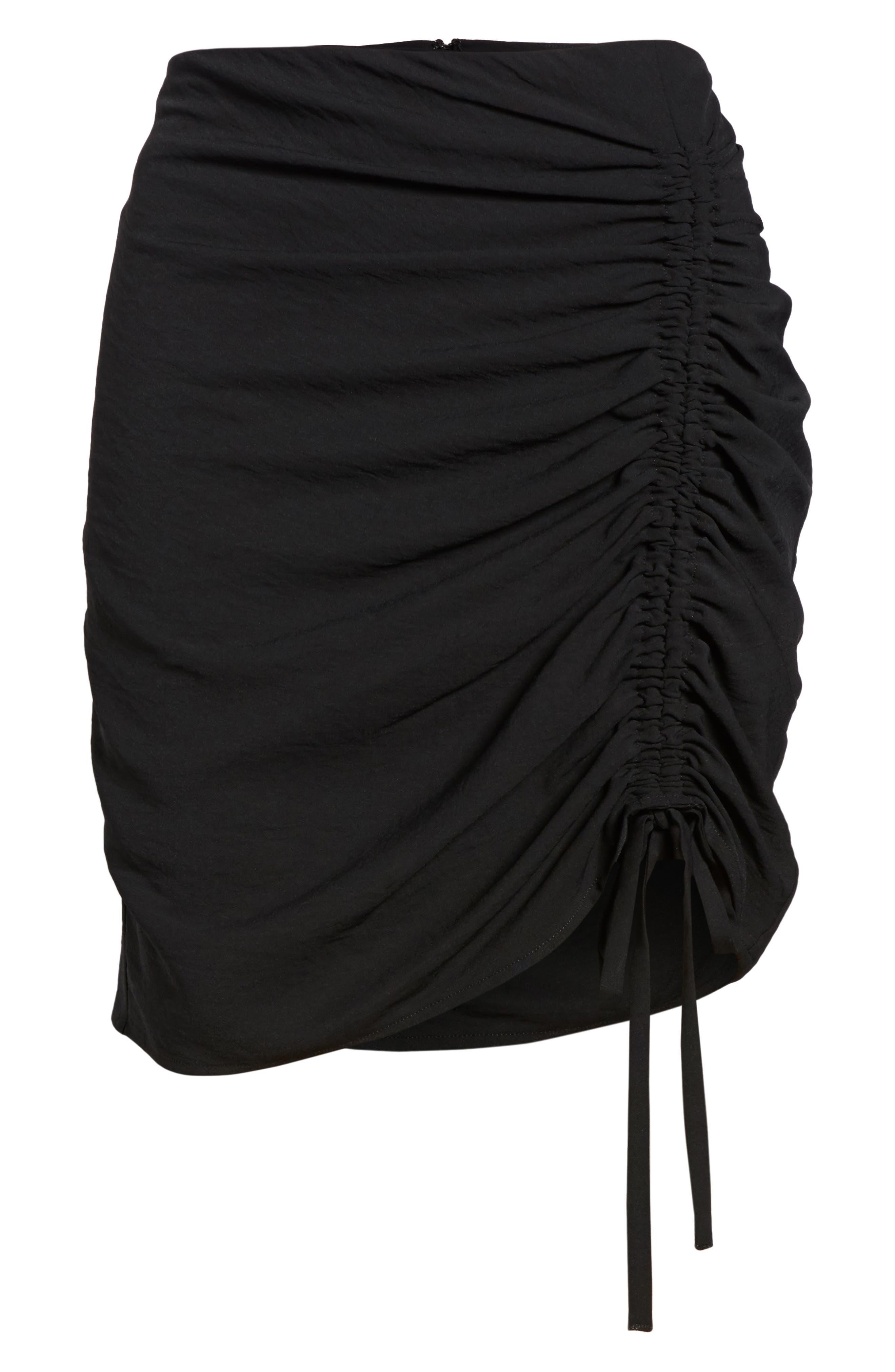 Cinch Hem Miniskirt,                             Alternate thumbnail 6, color,                             Black