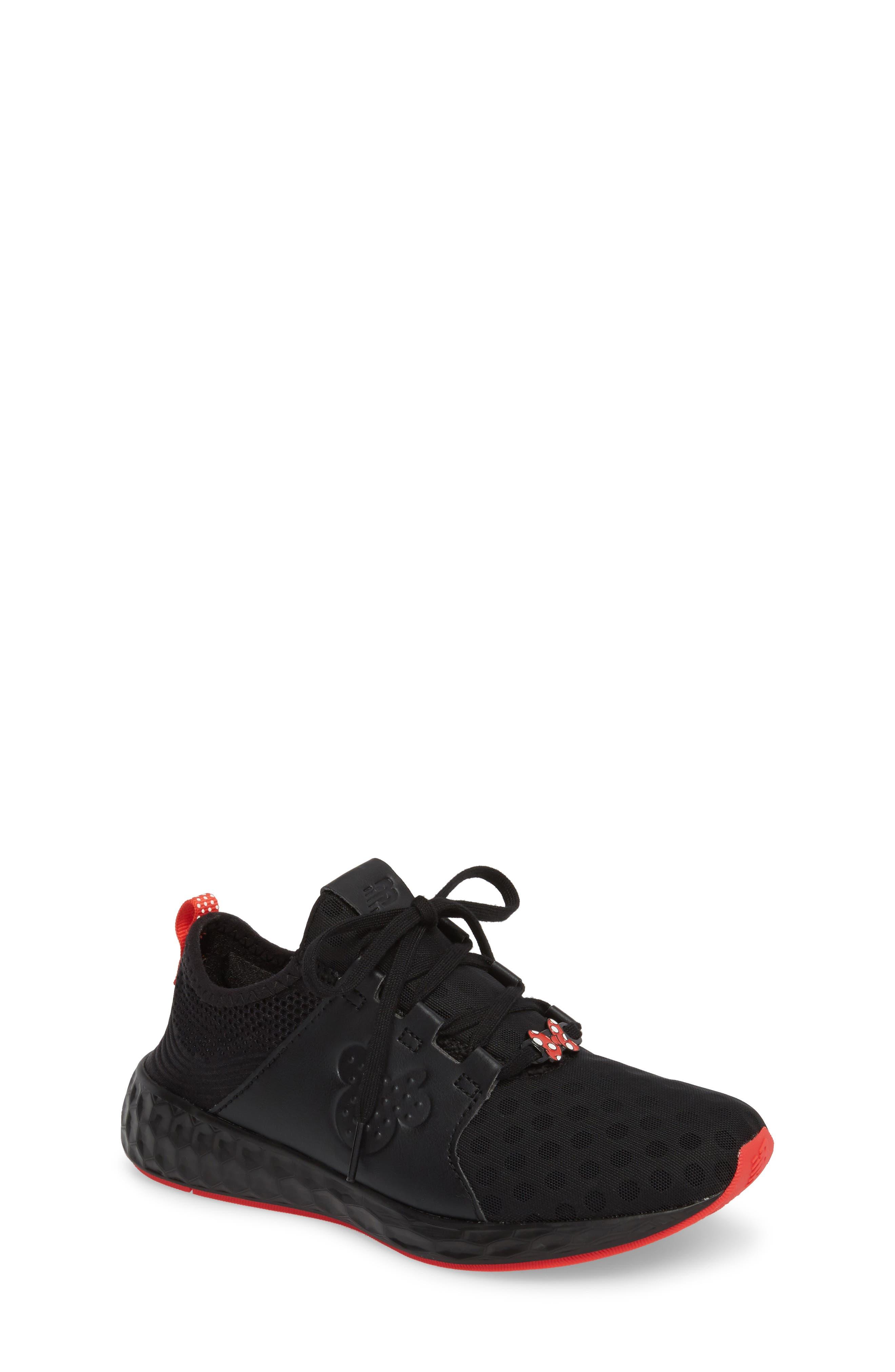 x Disney Minnie Mouse Cruz Sport Sneaker,                             Main thumbnail 1, color,                             Black/ Red