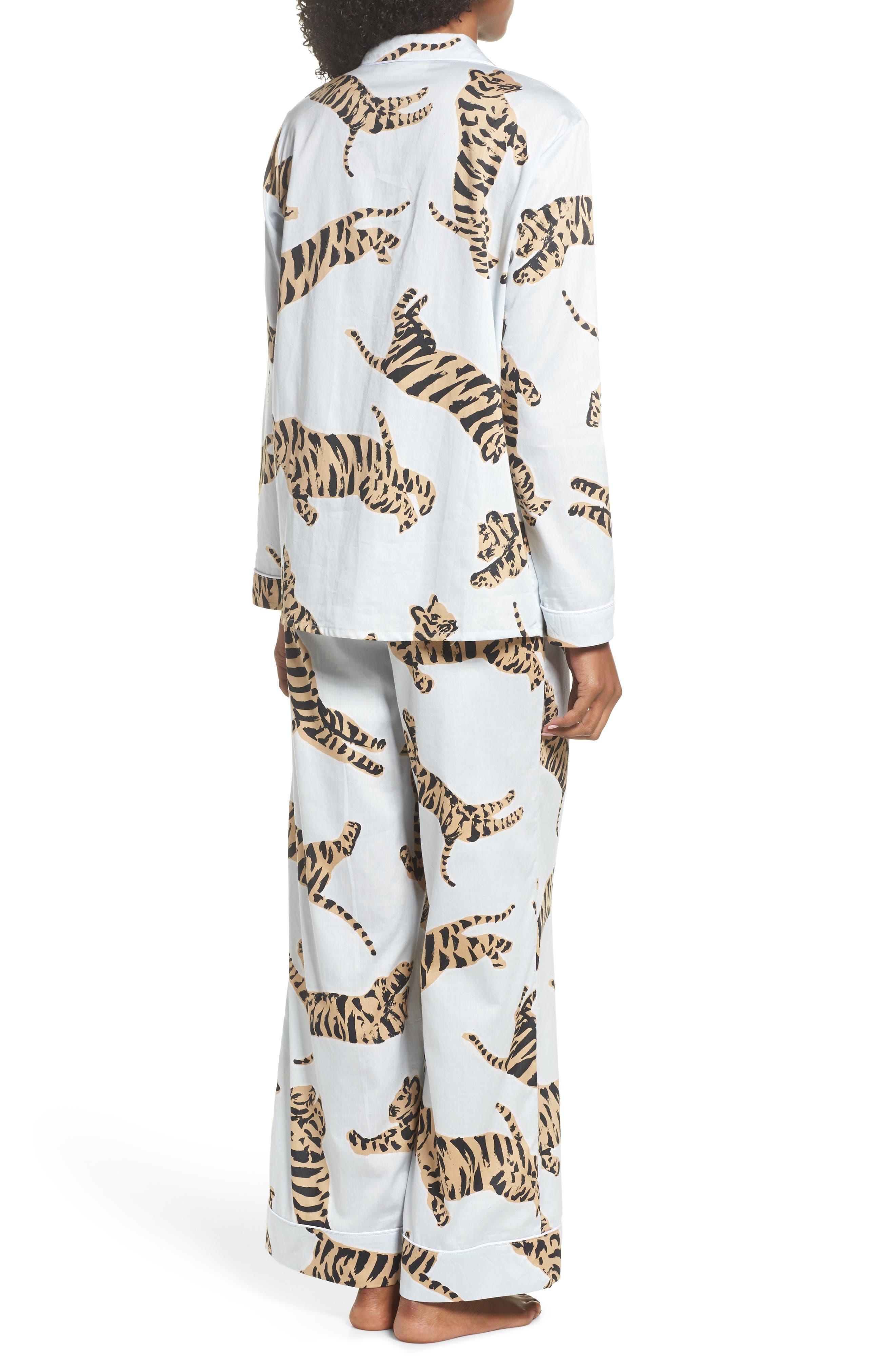 Suzie Cotton Pajamas,                             Alternate thumbnail 2, color,                             Tiger Moon Light Blue
