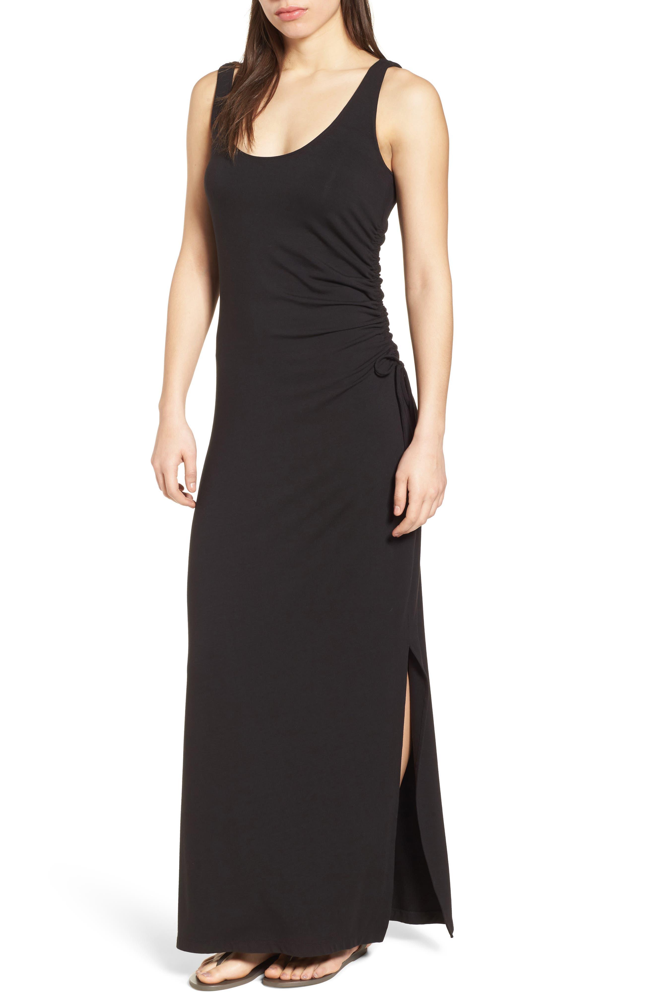 Tambour Shirred Maxi Dress,                         Main,                         color, Black