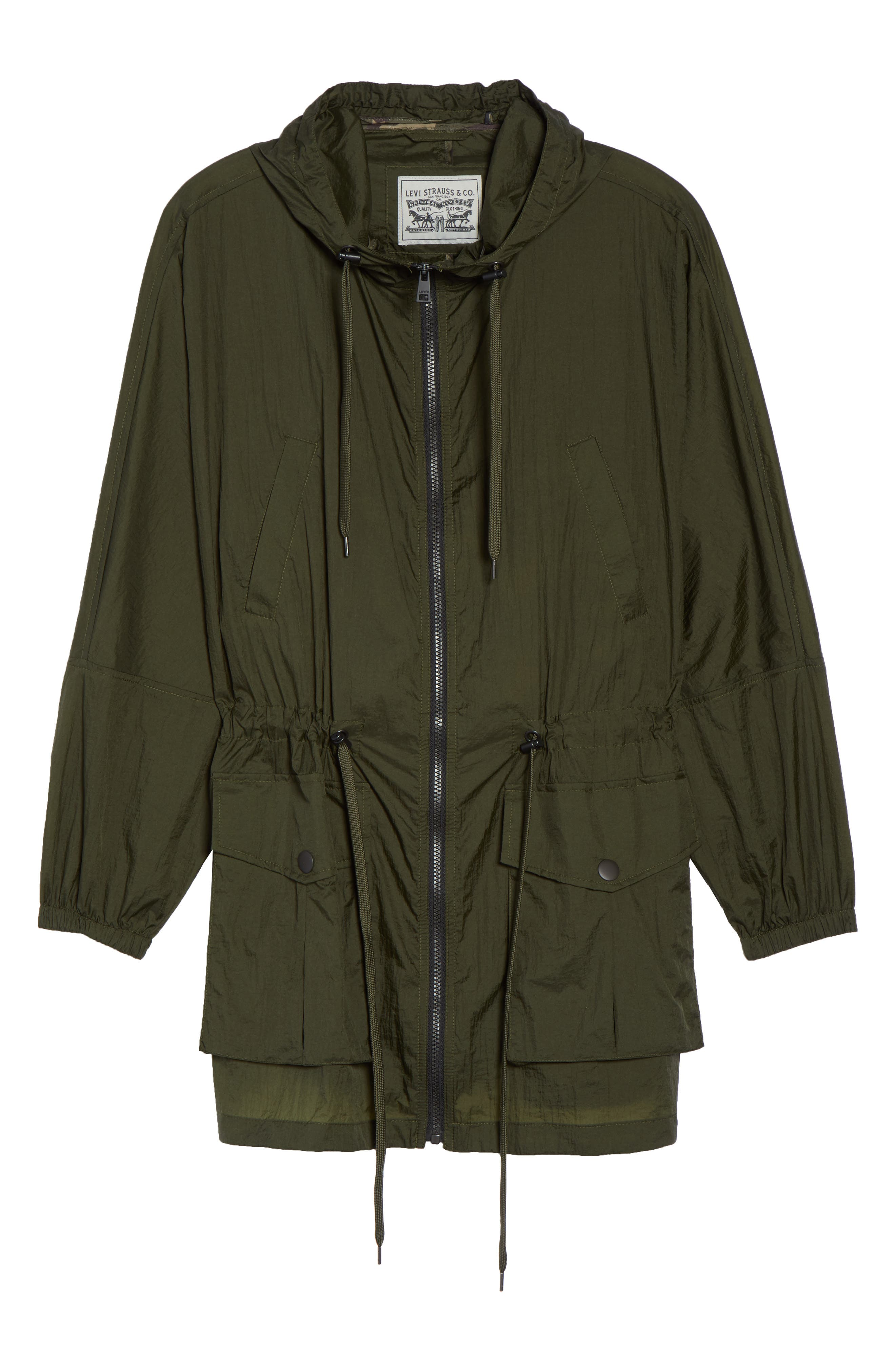 Hooded Windbreaker,                             Alternate thumbnail 6, color,                             Army Green