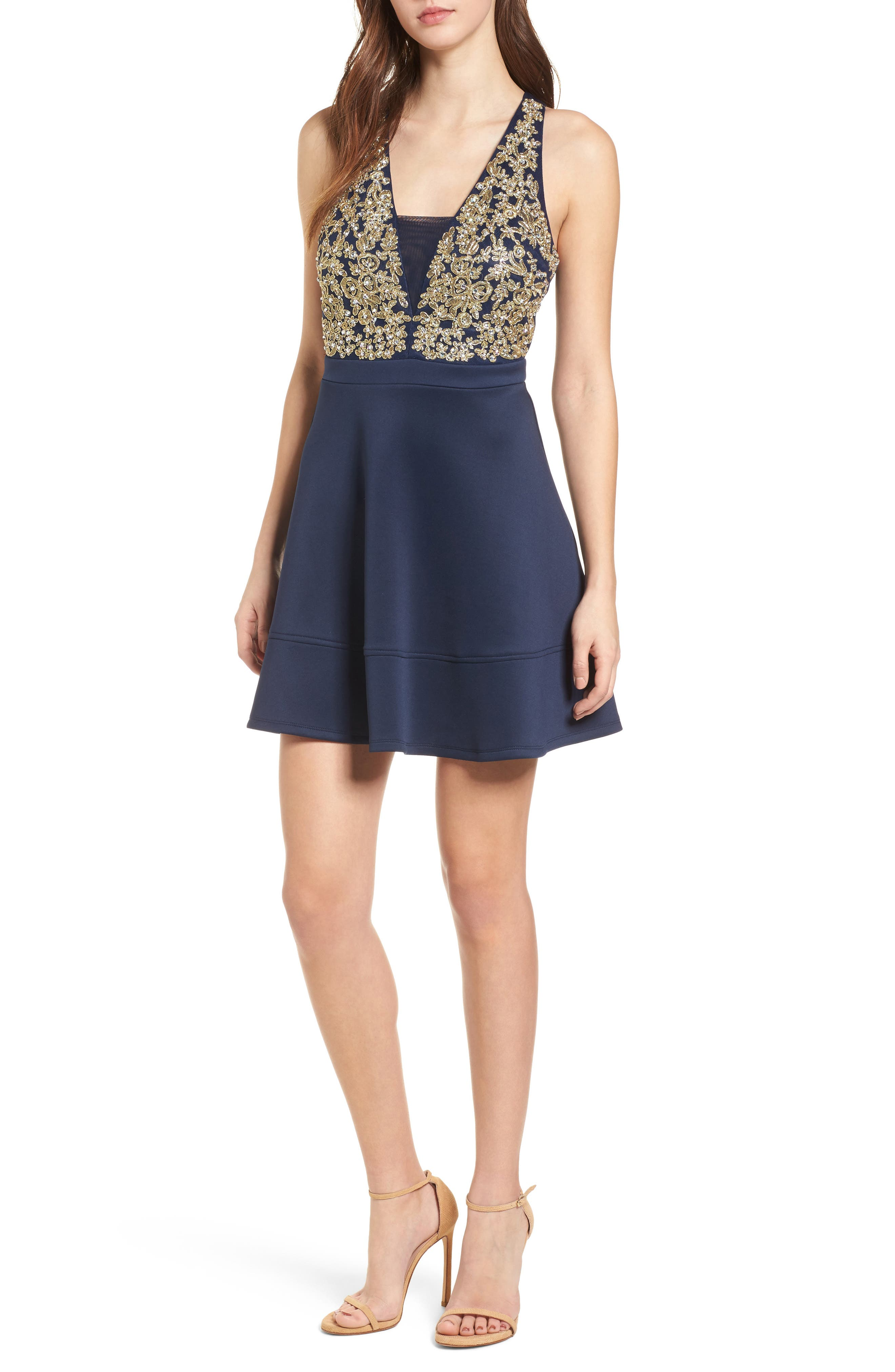 Love, Nickie Lew Embellished Fit & Flare Dress