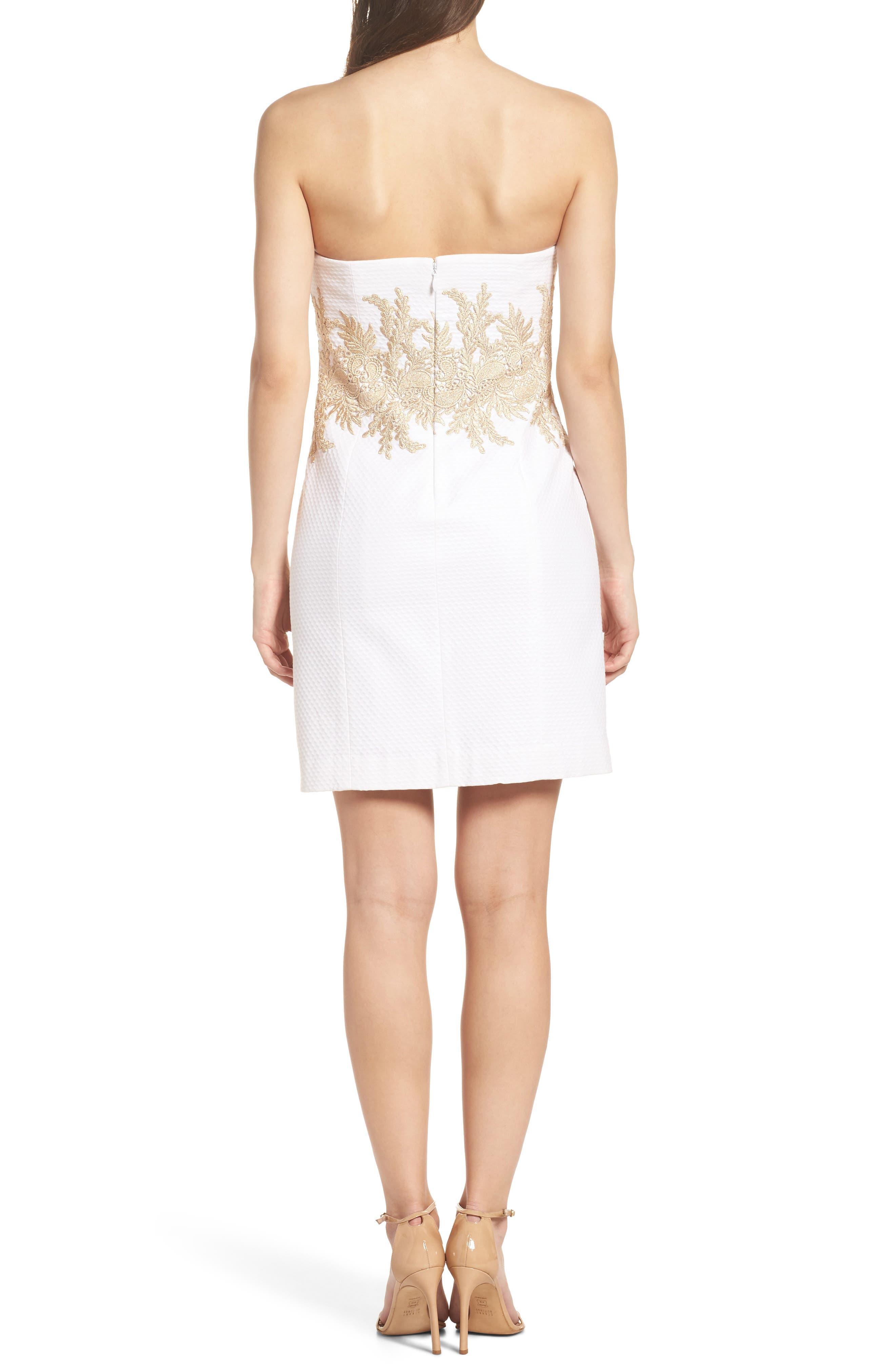 Kade Strapless Dress,                             Alternate thumbnail 2, color,                             Resort White