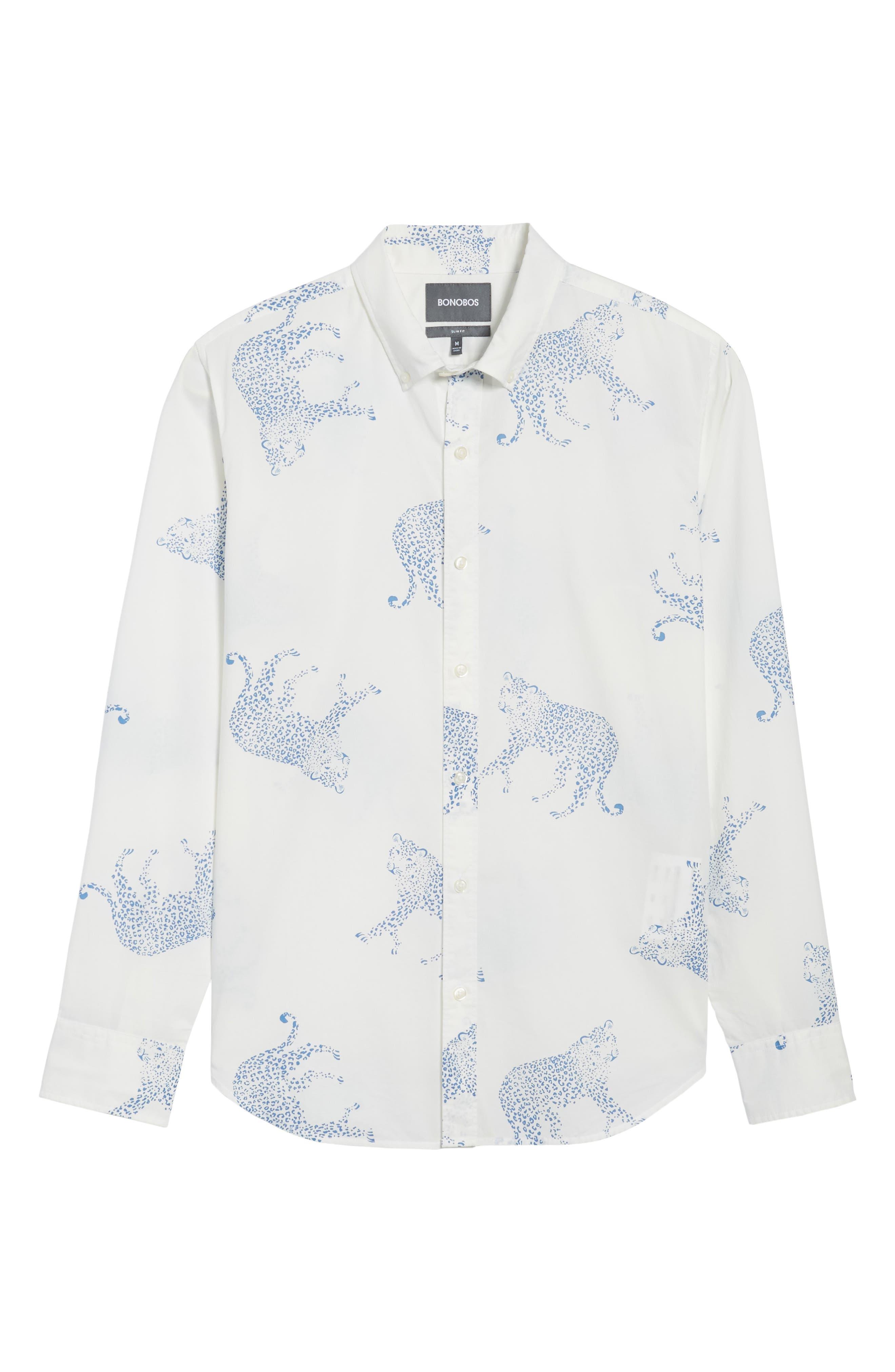 Summerweight Slim Fit Print Sport Shirt,                             Alternate thumbnail 6, color,                             Big Cheetah - Maritime Blue