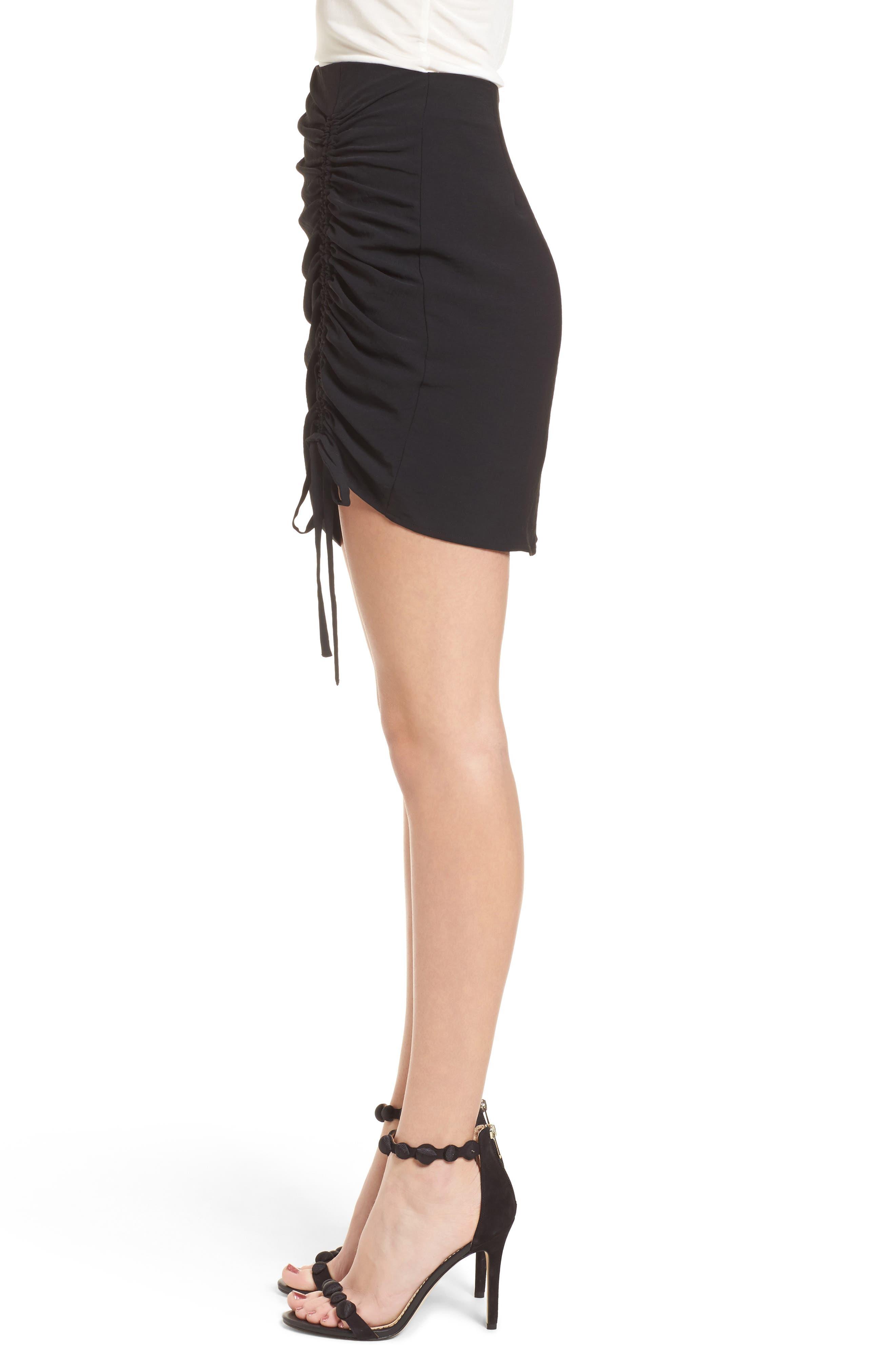 Cinch Hem Miniskirt,                             Alternate thumbnail 3, color,                             Black