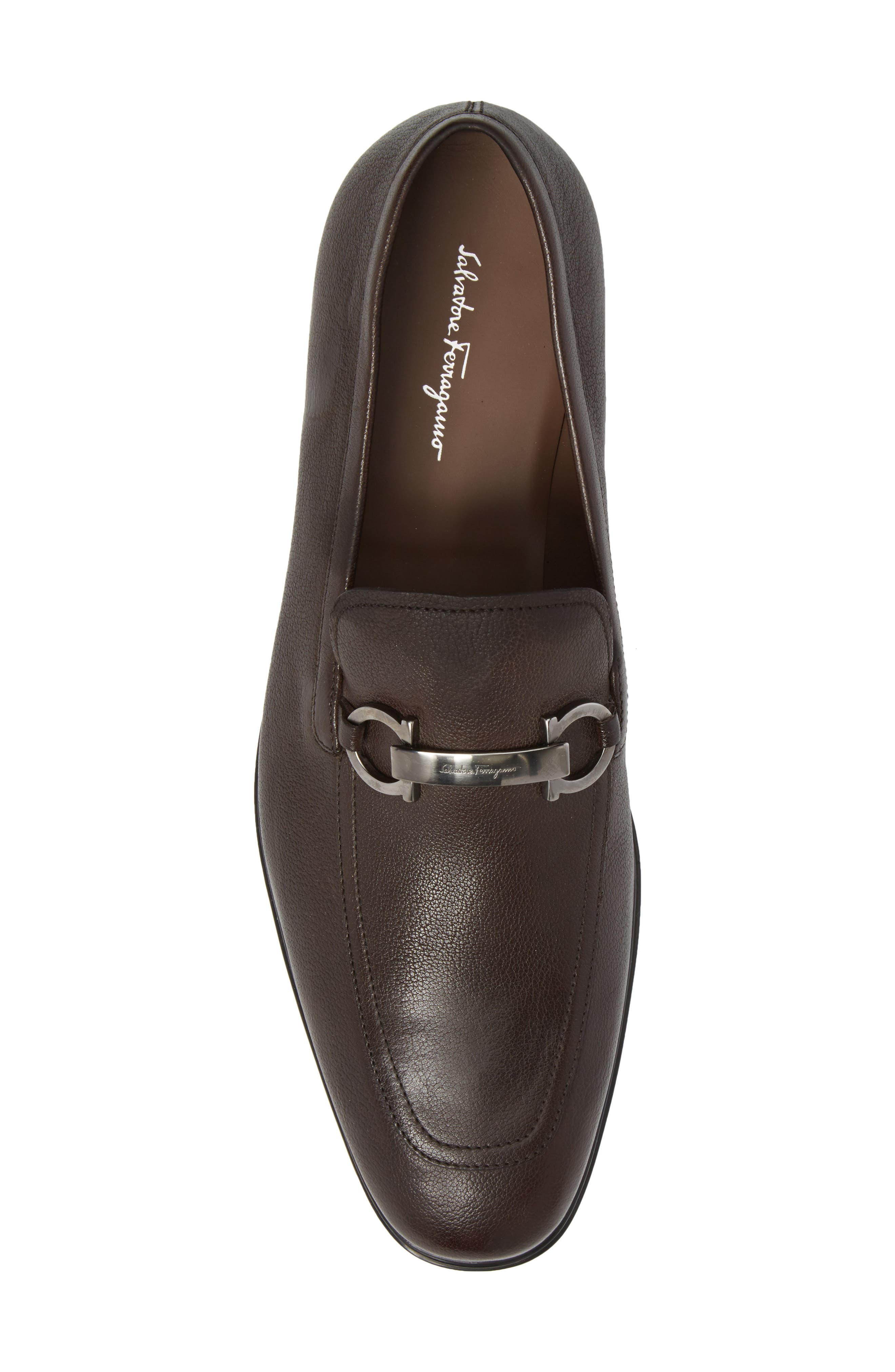 Borges Apron Toe Loafer,                             Alternate thumbnail 5, color,                             Brown Leather