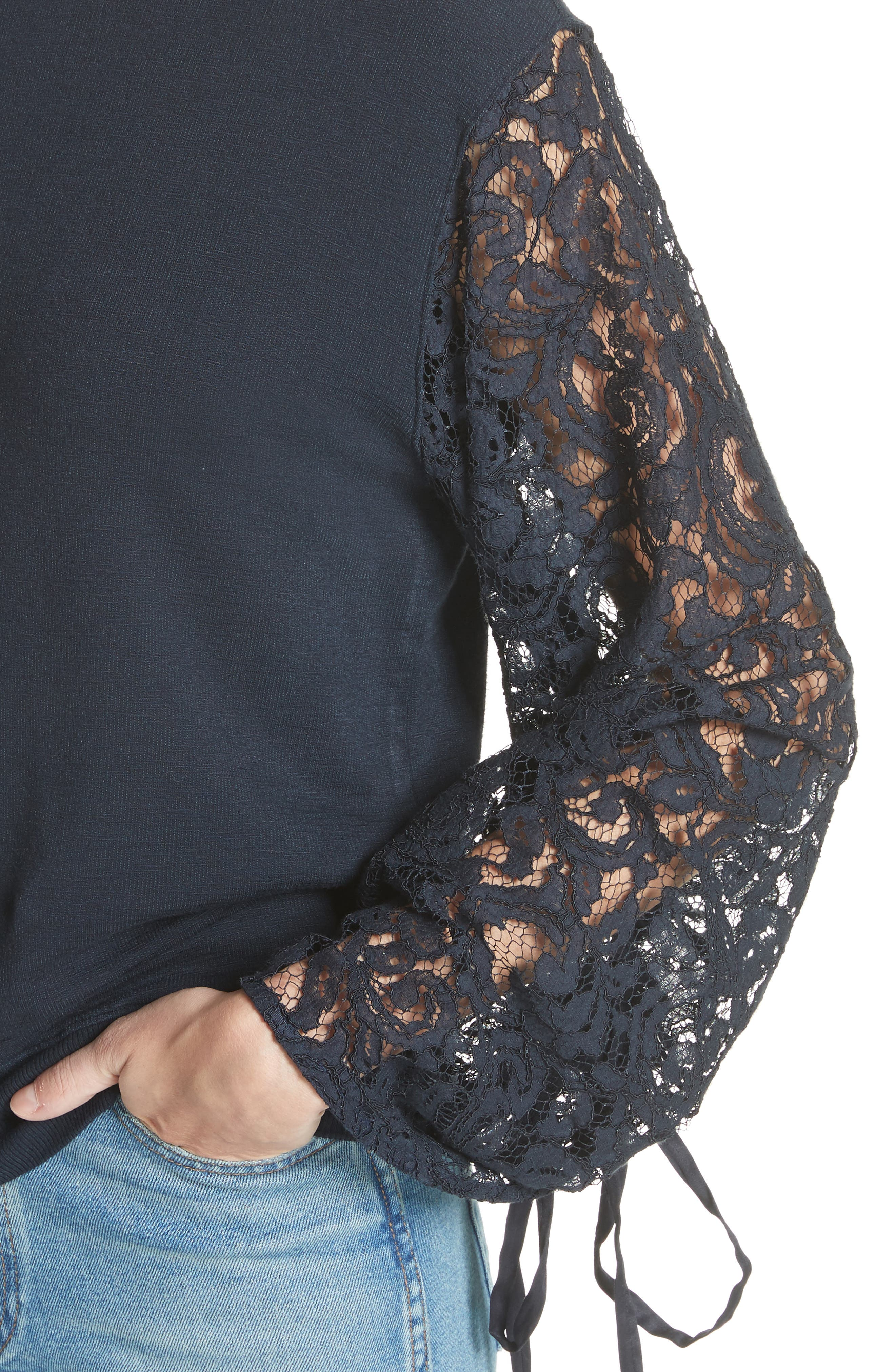 Lace Sleeve Sweatshirt,                             Alternate thumbnail 4, color,                             Navy