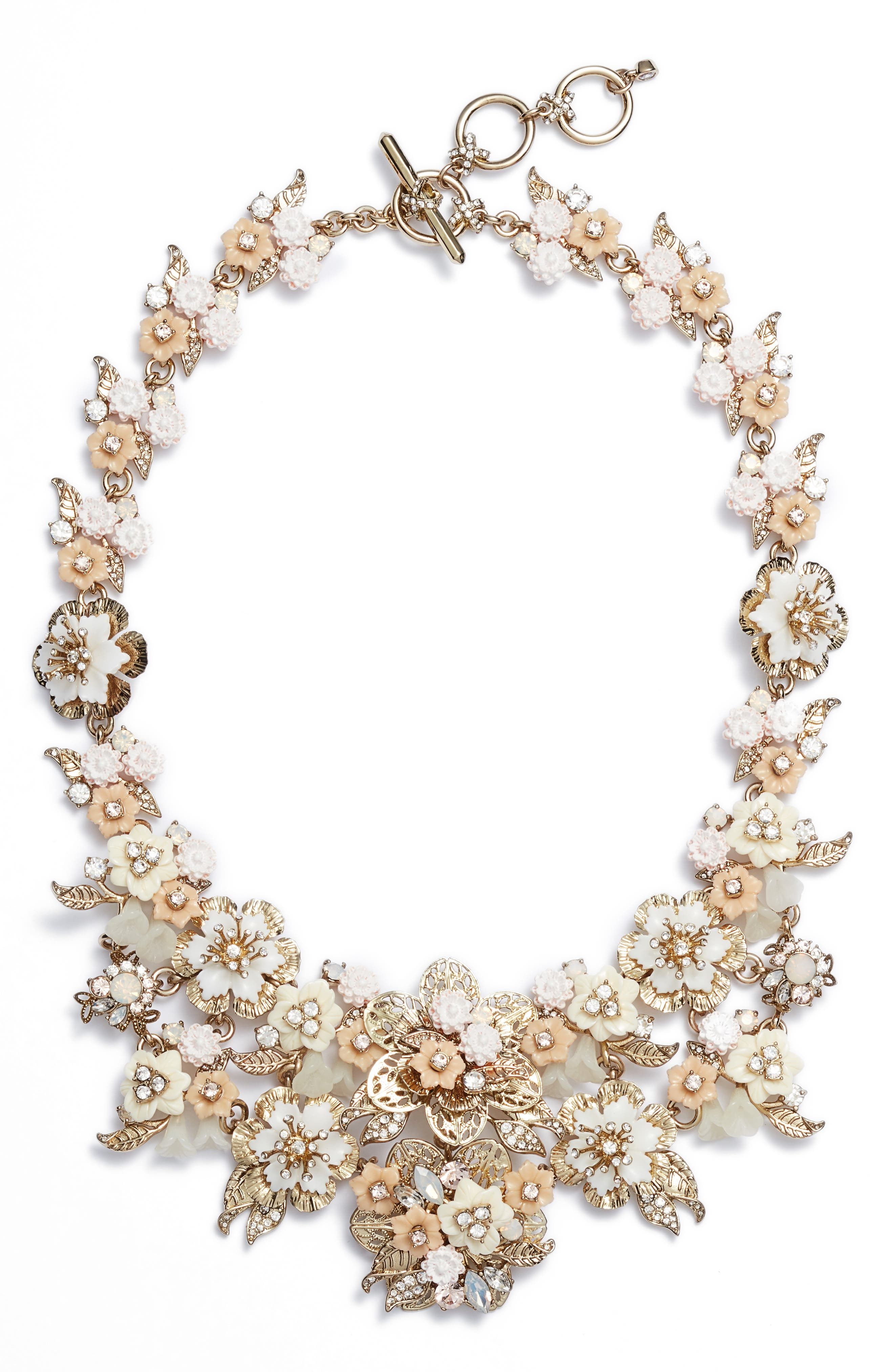 Floral Collar Necklace,                             Main thumbnail 1, color,                             Gold/ White Multi
