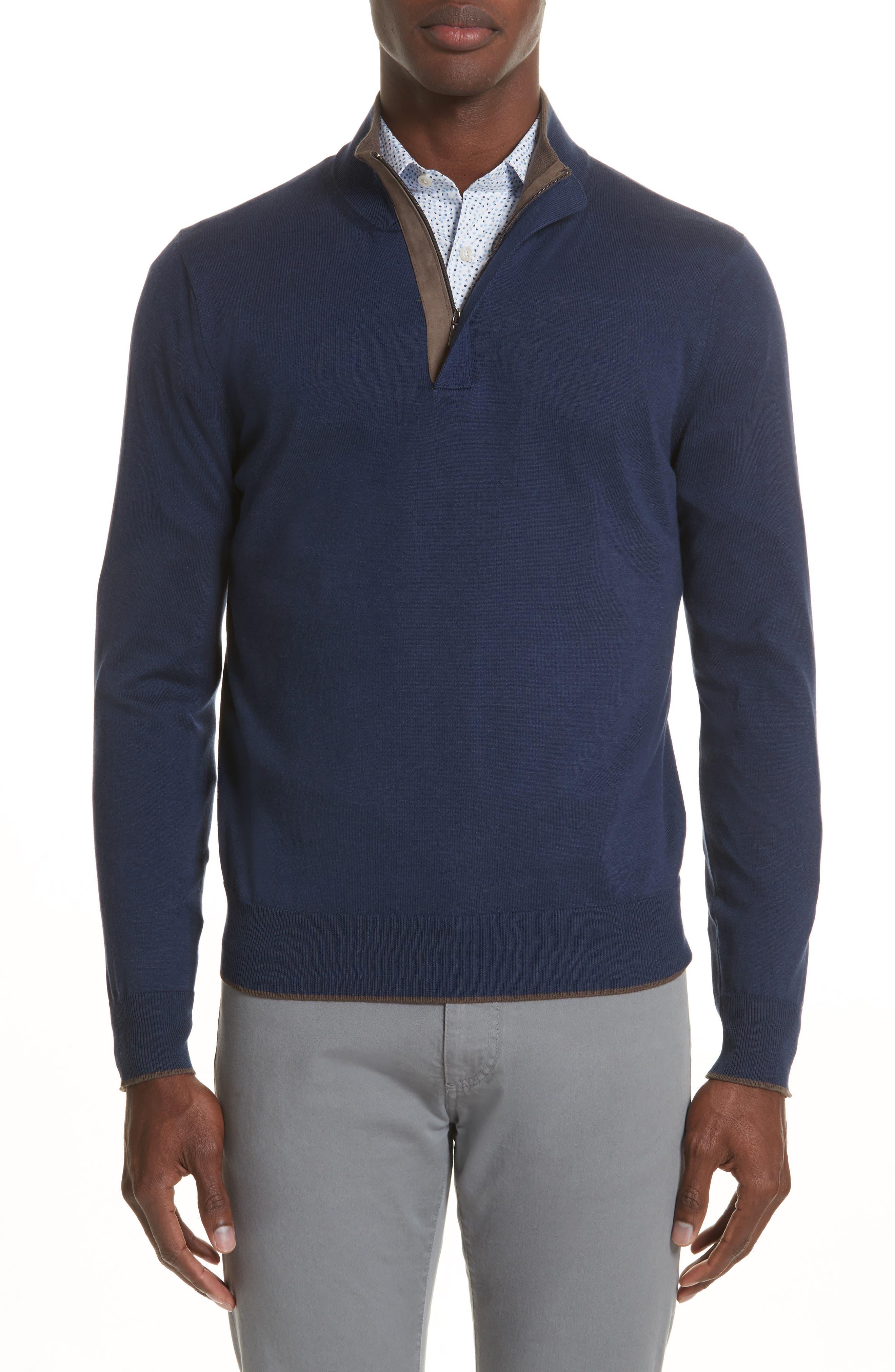 Quarter Zip Sweater,                             Main thumbnail 1, color,                             Dark Blue
