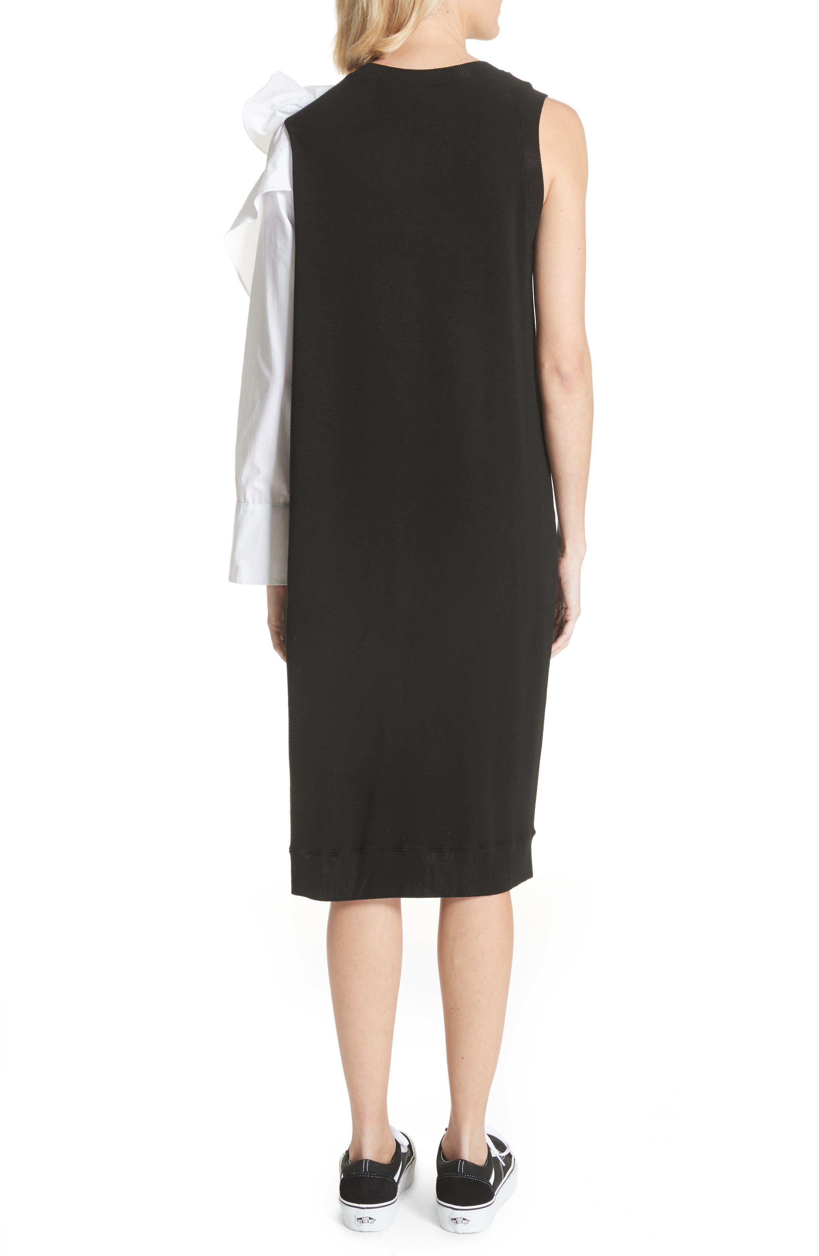 Bow Sleeve Midi Dress,                             Alternate thumbnail 2, color,                             Black