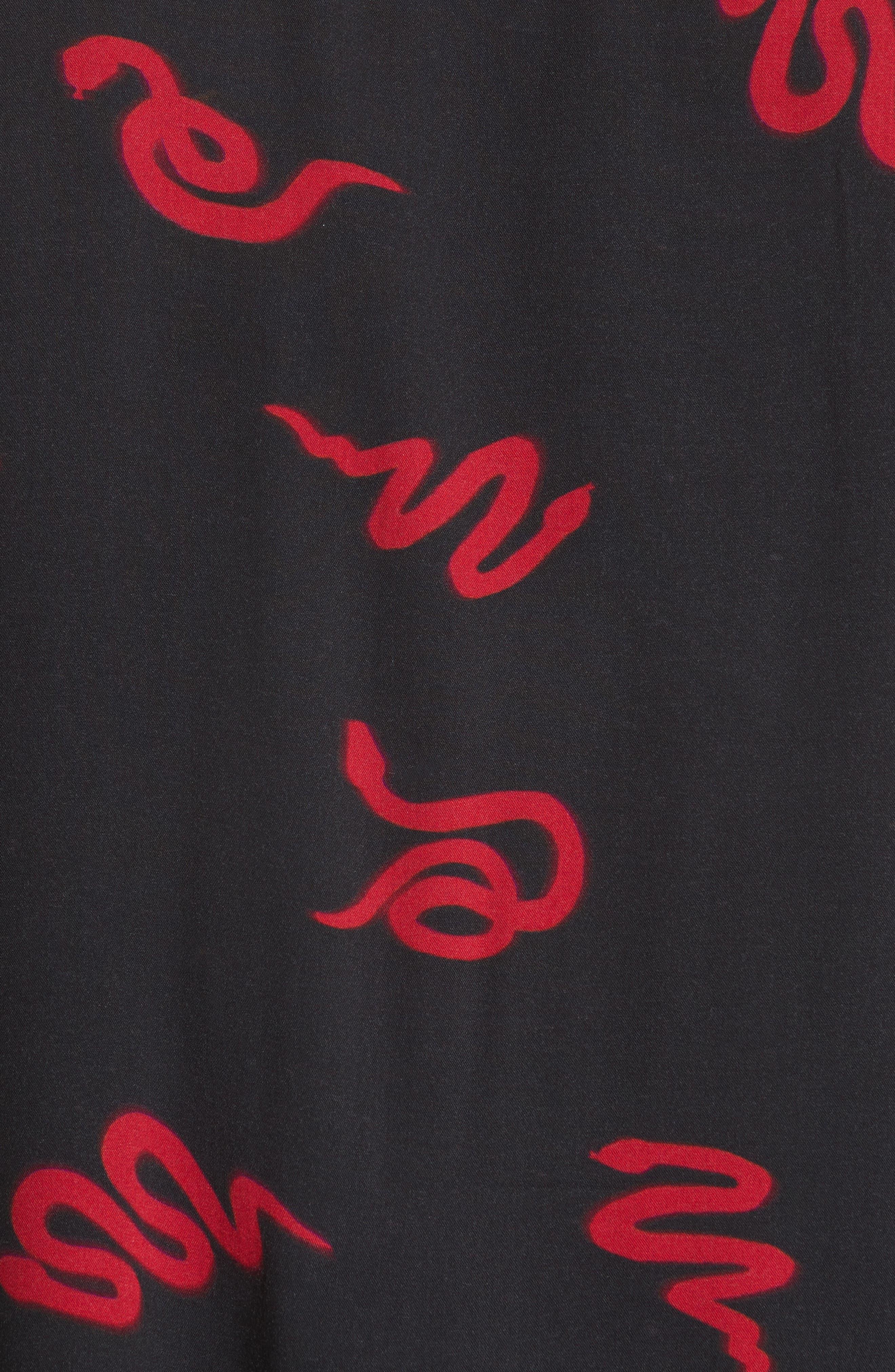 Neon Snake Print Rayon Shirt,                             Alternate thumbnail 5, color,                             Black/ Red