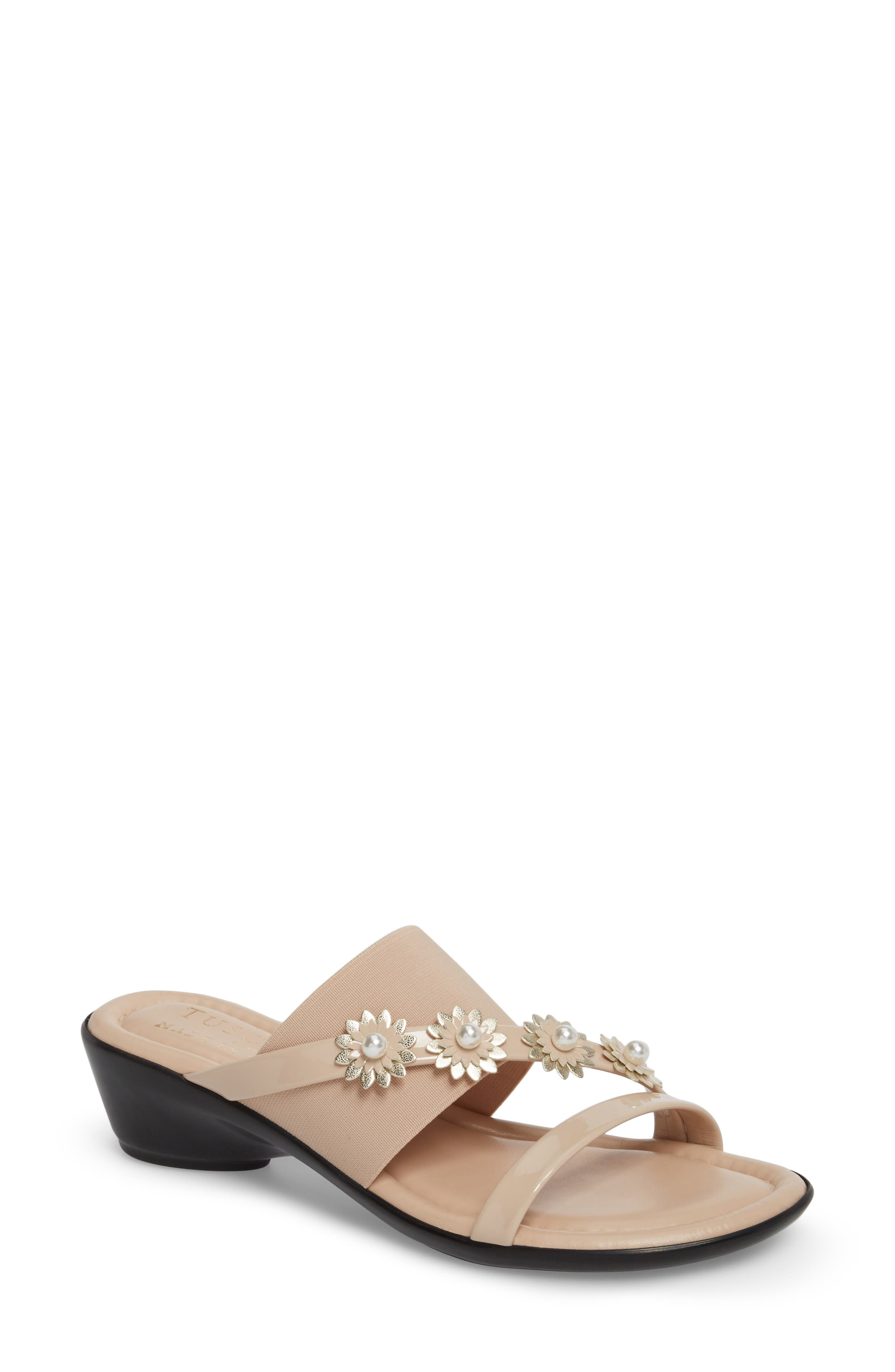 by Easy Street<sup>®</sup> Paradiso Slide Sandal,                         Main,                         color, Nude Patent/ Stretch
