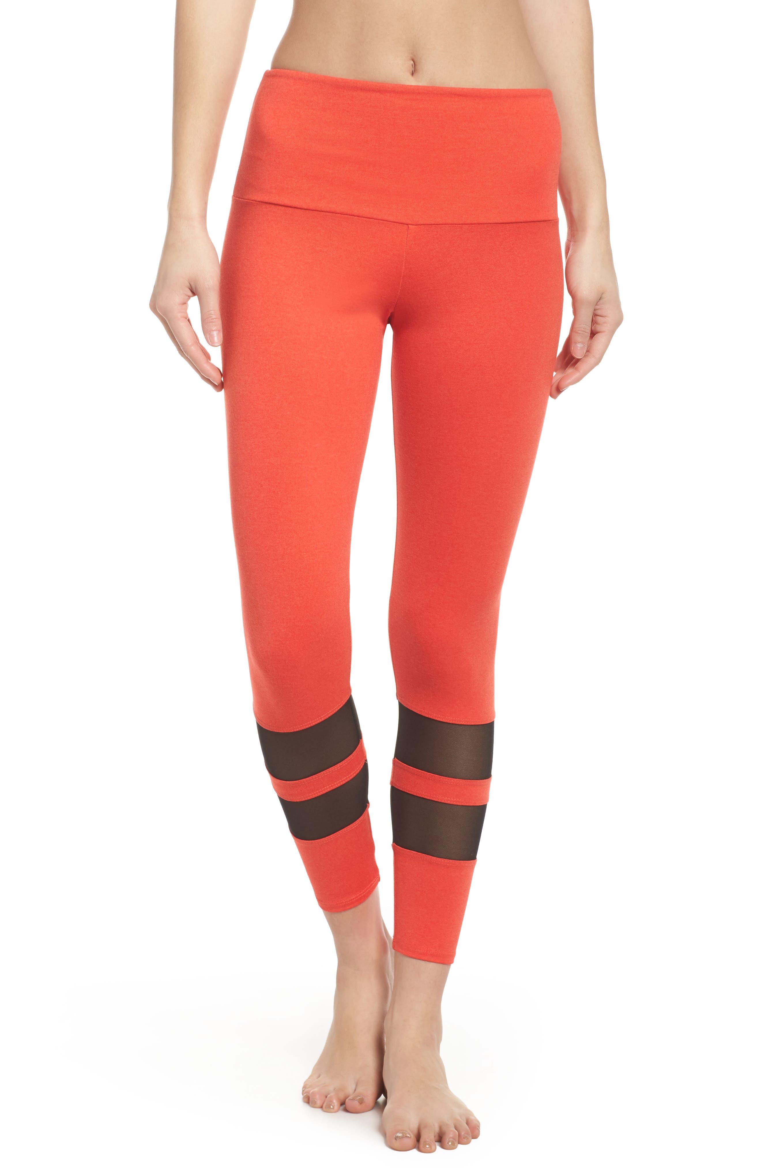 Racer Leggings,                         Main,                         color, Coral Majestic/ Black Mesh
