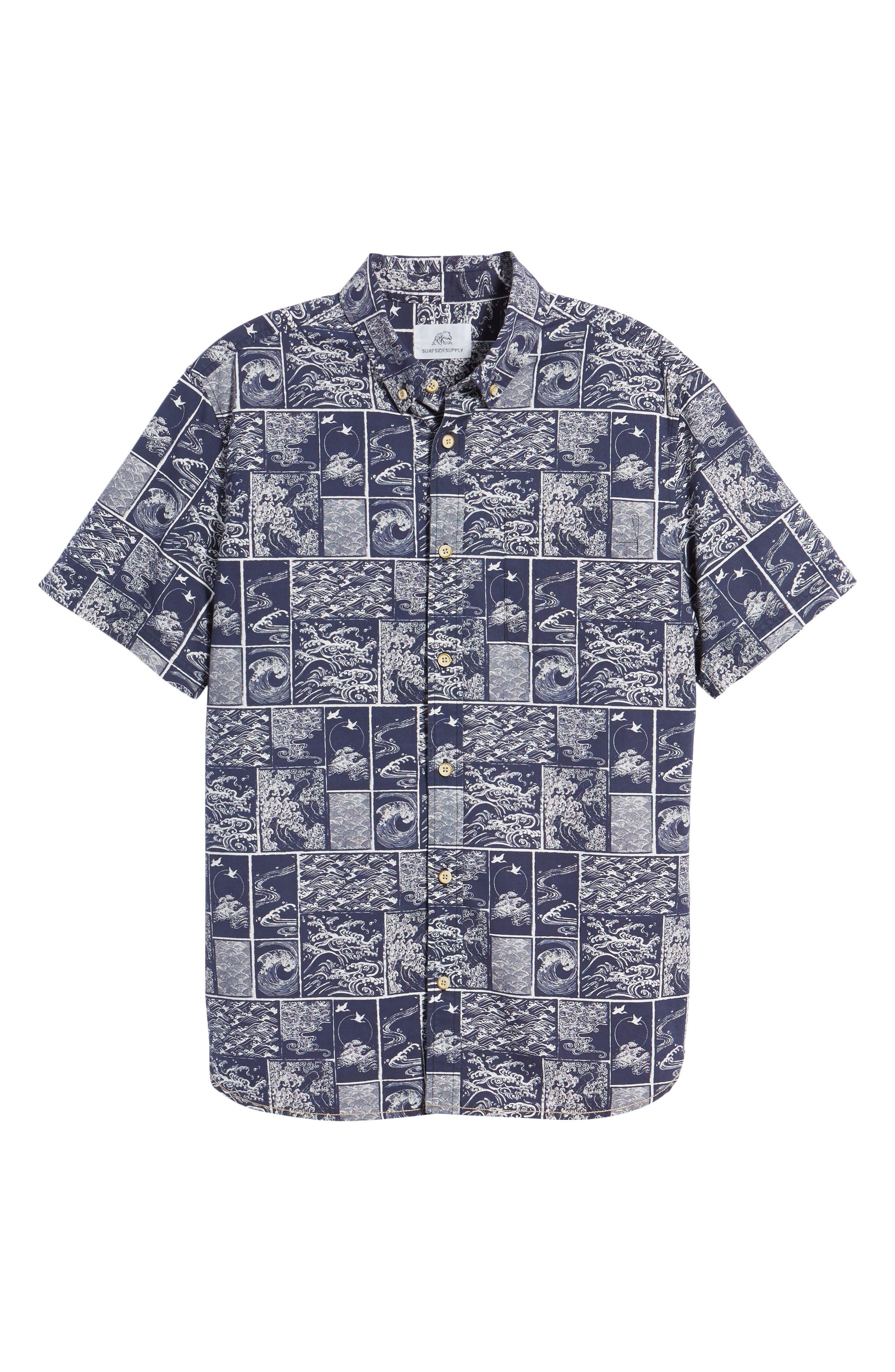 Wave Print Sport Shirt,                             Alternate thumbnail 6, color,                             Navy/ White