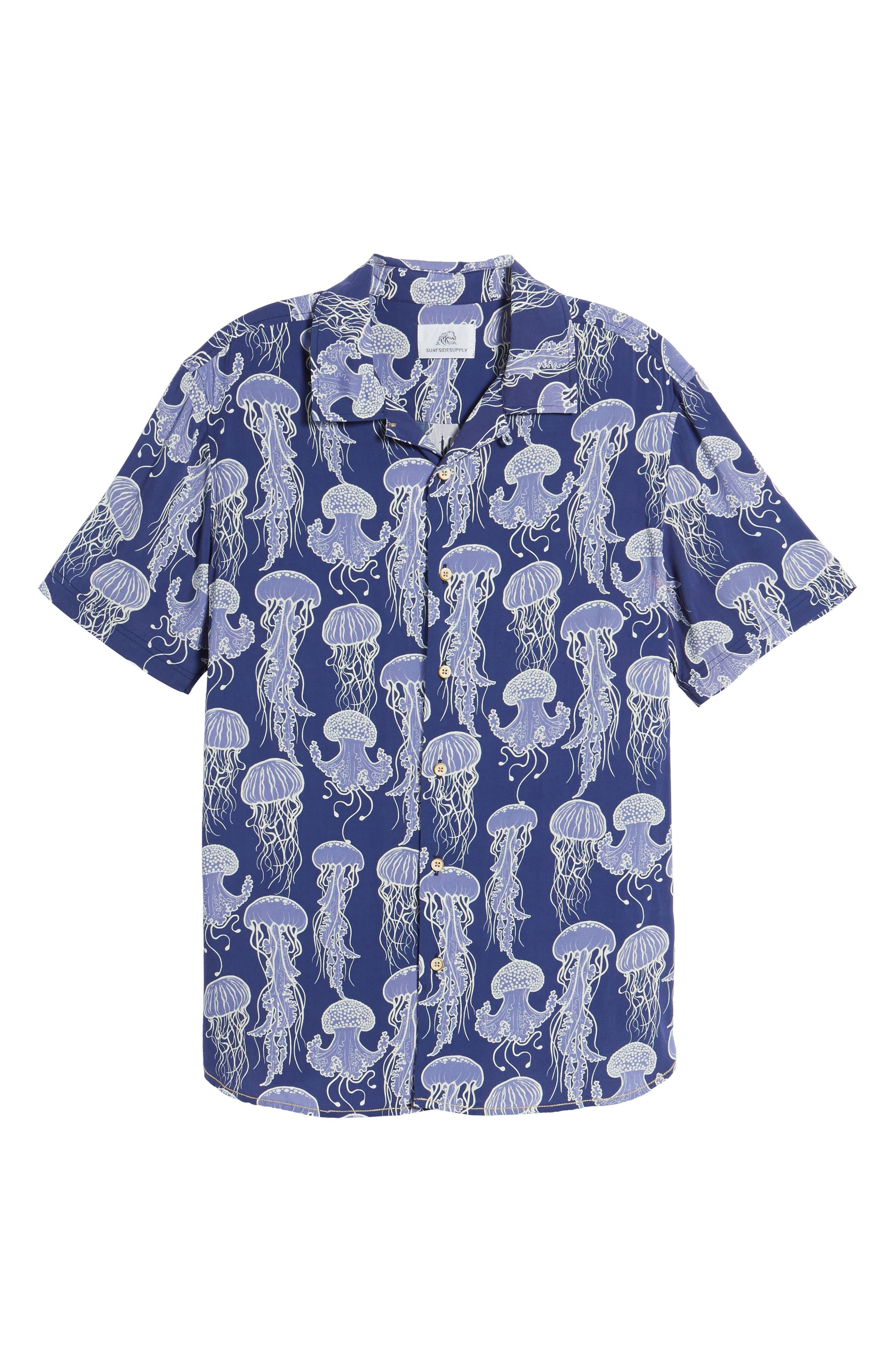 Jellyfish Print Camp Shirt,                             Alternate thumbnail 6, color,                             Grape