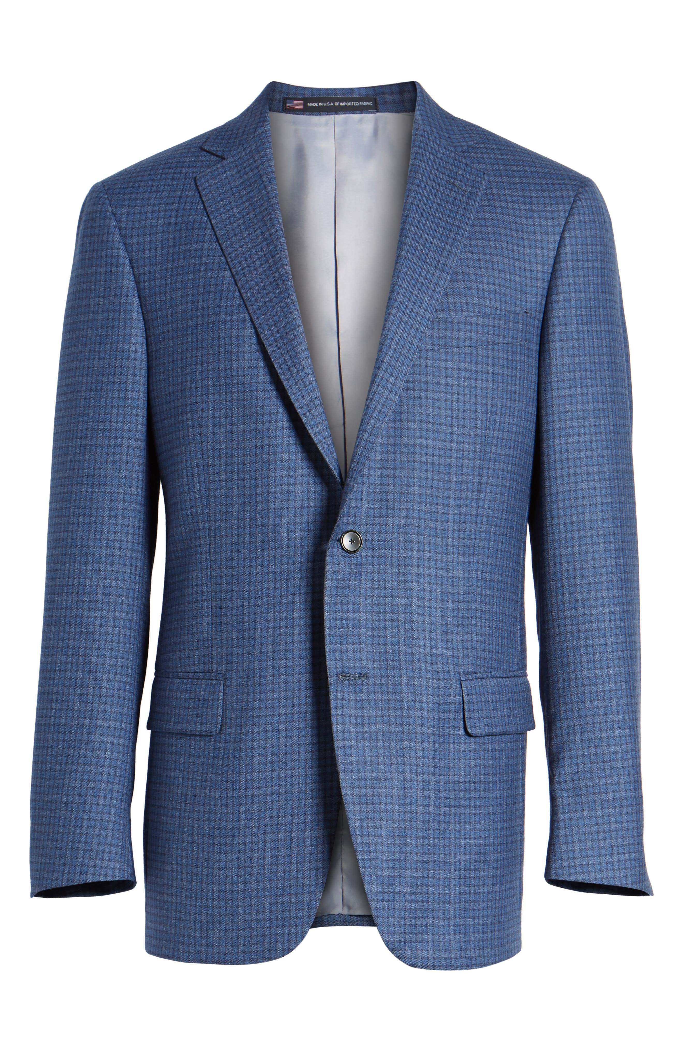 Classic Fit Check Wool Sport Coat,                             Alternate thumbnail 6, color,                             Mid Blue