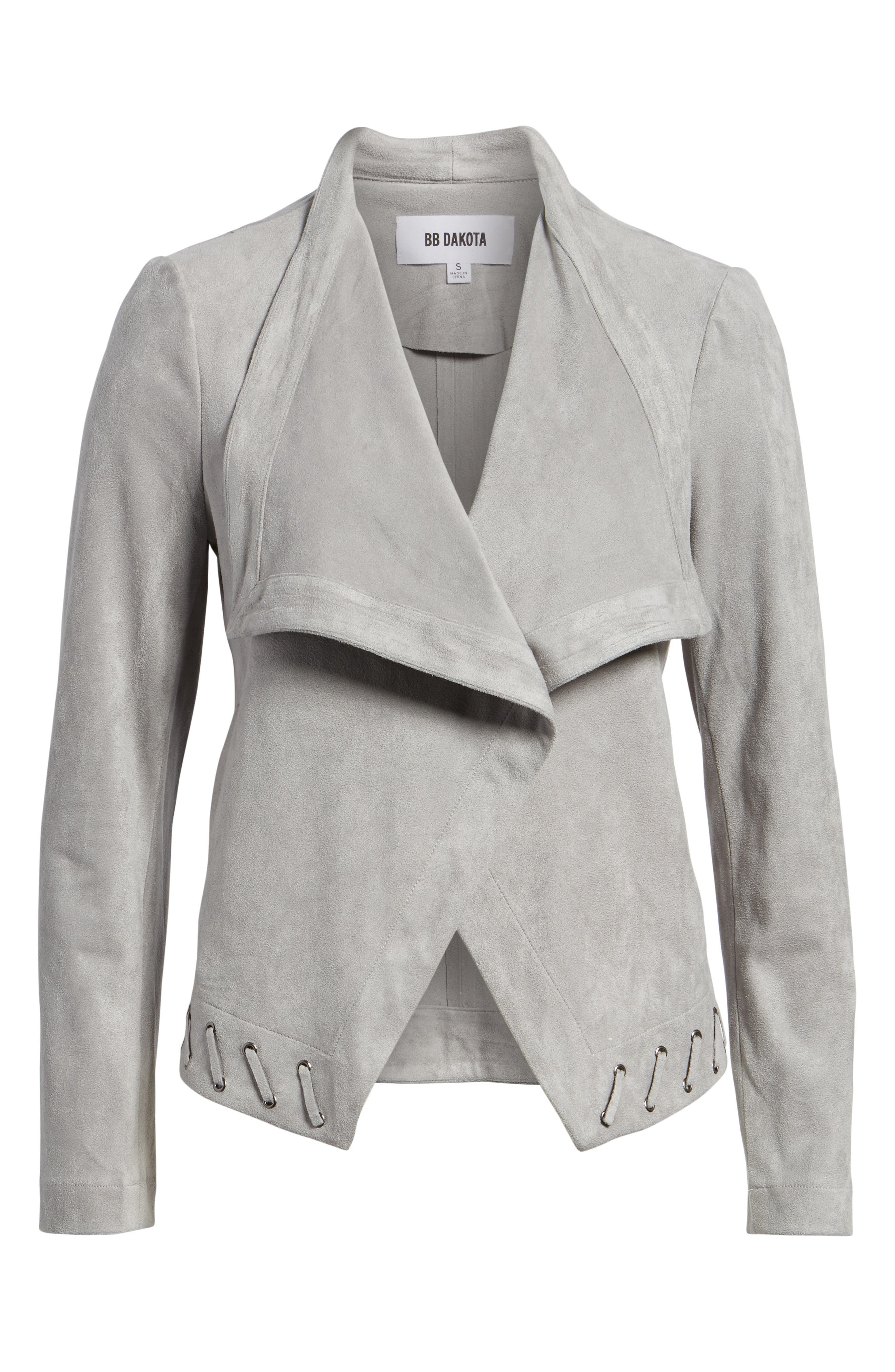 Arly Faux Suede Jacket,                             Alternate thumbnail 6, color,                             Stone Grey