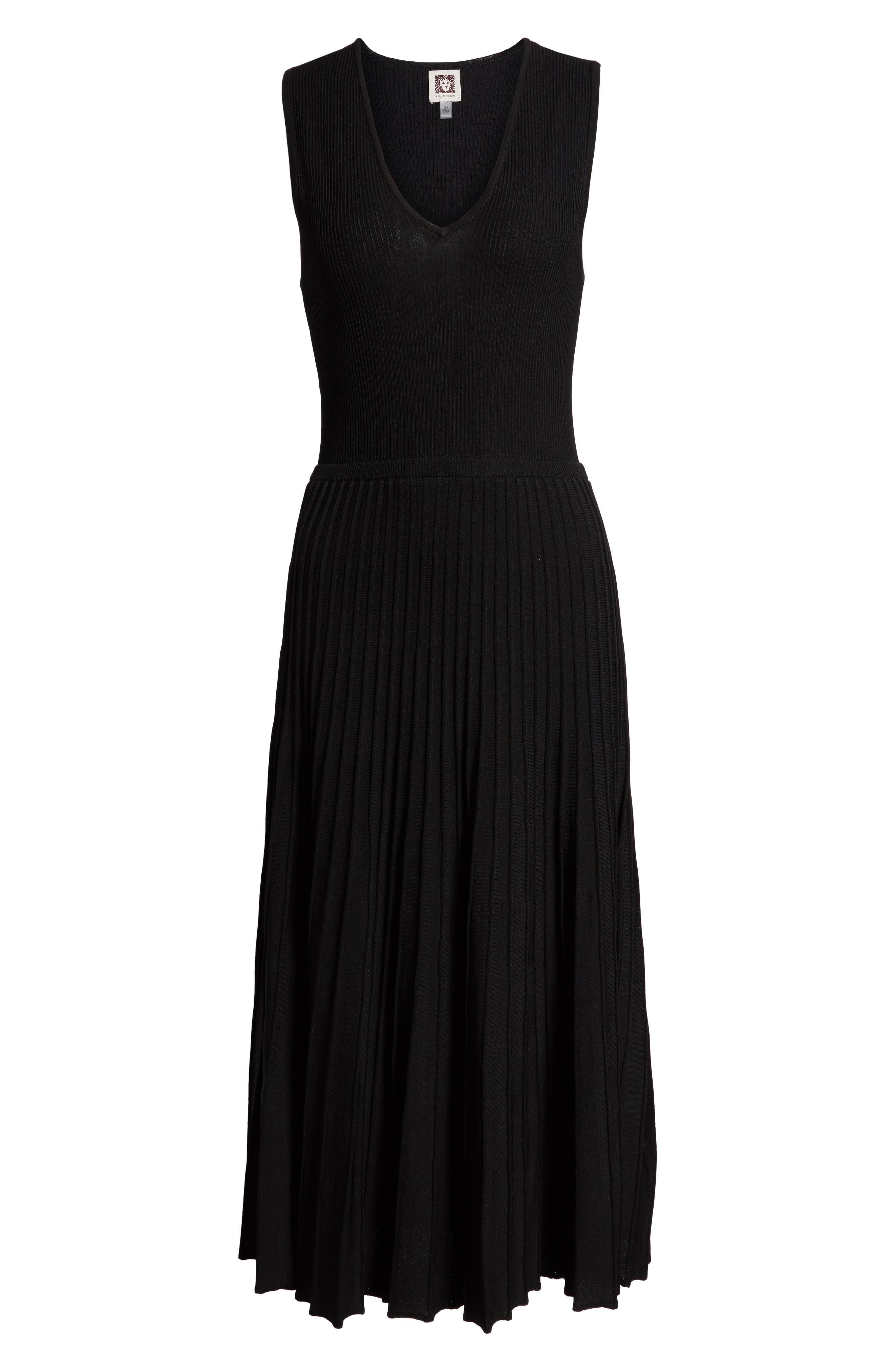 New York Pleated Sweater Midi Dress,                             Alternate thumbnail 6, color,                             Black