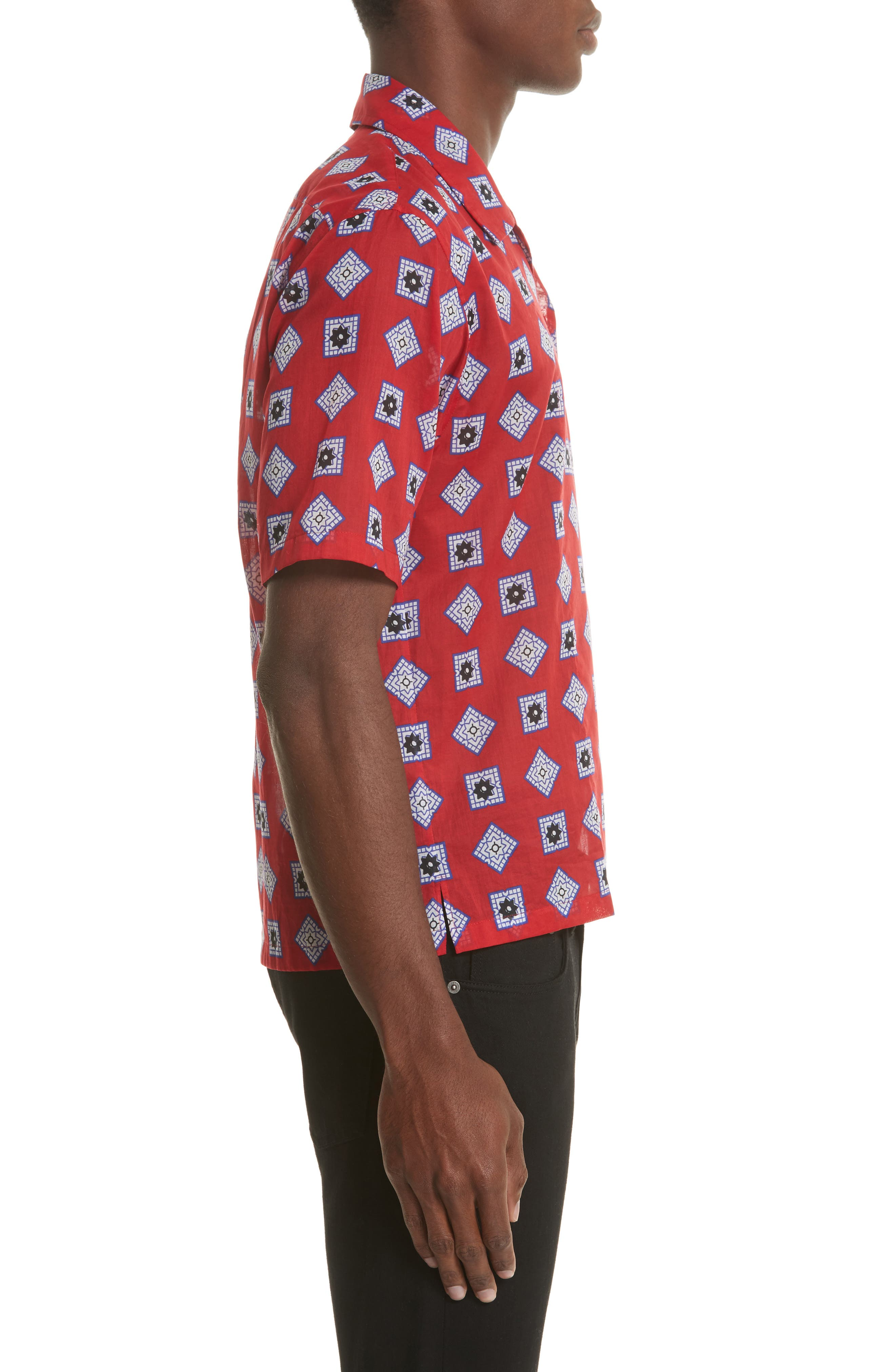 Muslin Print Camp Shirt,                             Alternate thumbnail 4, color,                             Red
