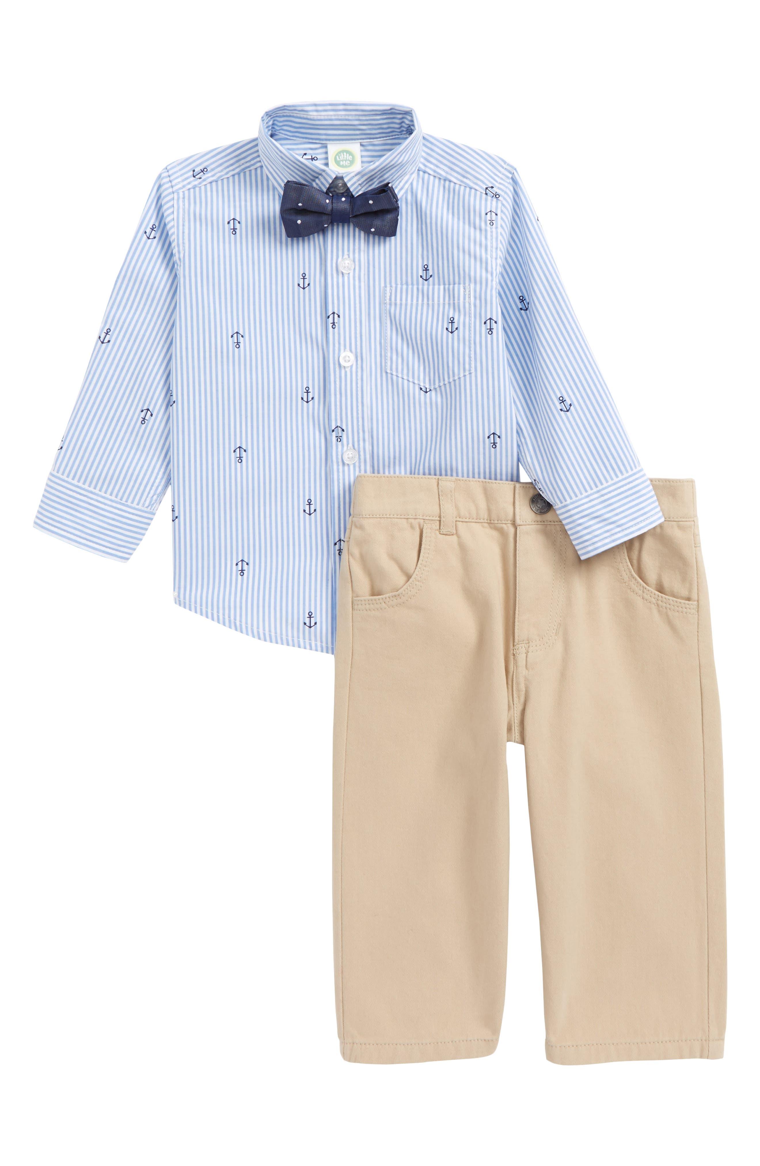 Little Me Sailor Stripe Shirt, Pants & Bow Tie Set (Baby Boys)